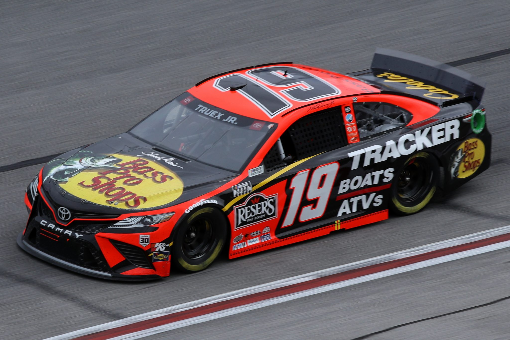 HAMPTON, GEORGIA - MARCH 21: Martin Truex Jr., driver of the #19 Bass Pro Toyota, drives during the NASCAR Cup Series Folds of Honor QuikTrip 500 at Atlanta Motor Speedway on March 21, 2021 in Hampton, Georgia. (Photo by Sean Gardner/Getty Images) | Getty Images
