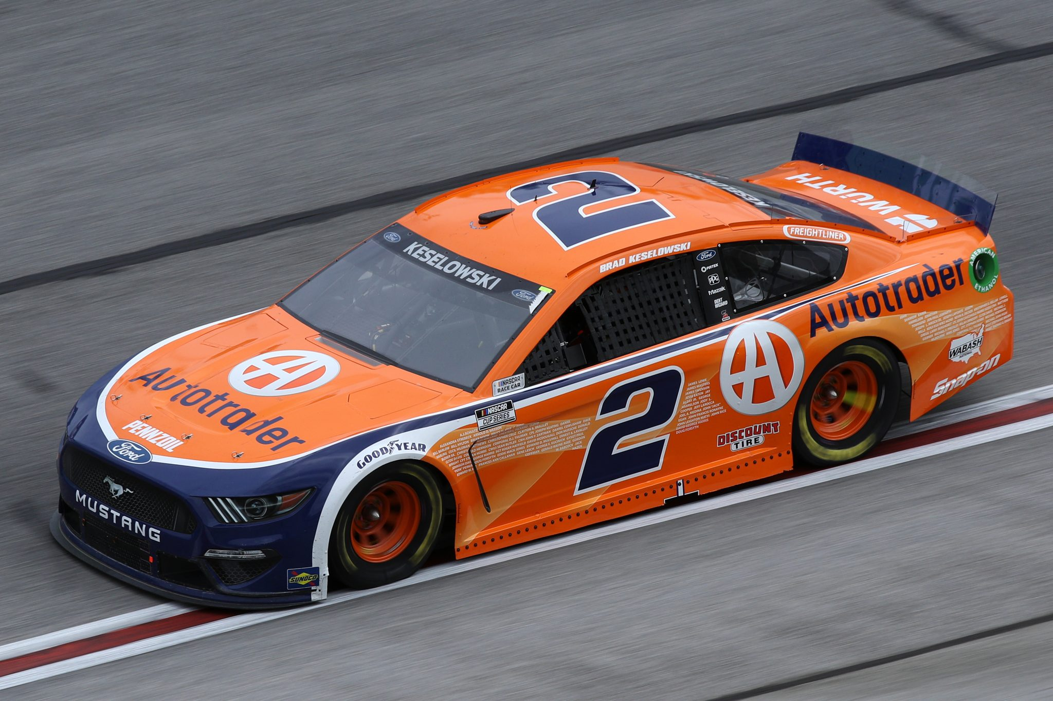 HAMPTON, GEORGIA - MARCH 21: Brad Keselowski, driver of the #2 Autotrader Ford, drives during the NASCAR Cup Series Folds of Honor QuikTrip 500 at Atlanta Motor Speedway on March 21, 2021 in Hampton, Georgia. (Photo by Sean Gardner/Getty Images) | Getty Images