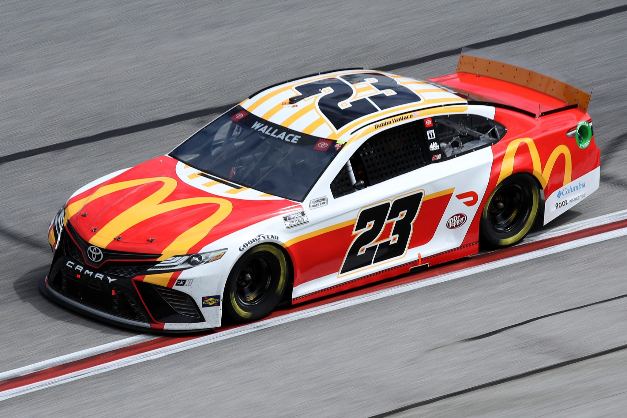 HAMPTON, GEORGIA - MARCH 21: Bubba Wallace, driver of the #23 McDonalds Toyota, drives during the NASCAR Cup Series Folds of Honor QuikTrip 500 at Atlanta Motor Speedway on March 21, 2021 in Hampton, Georgia. (Photo by Sean Gardner/Getty Images) | Getty Images