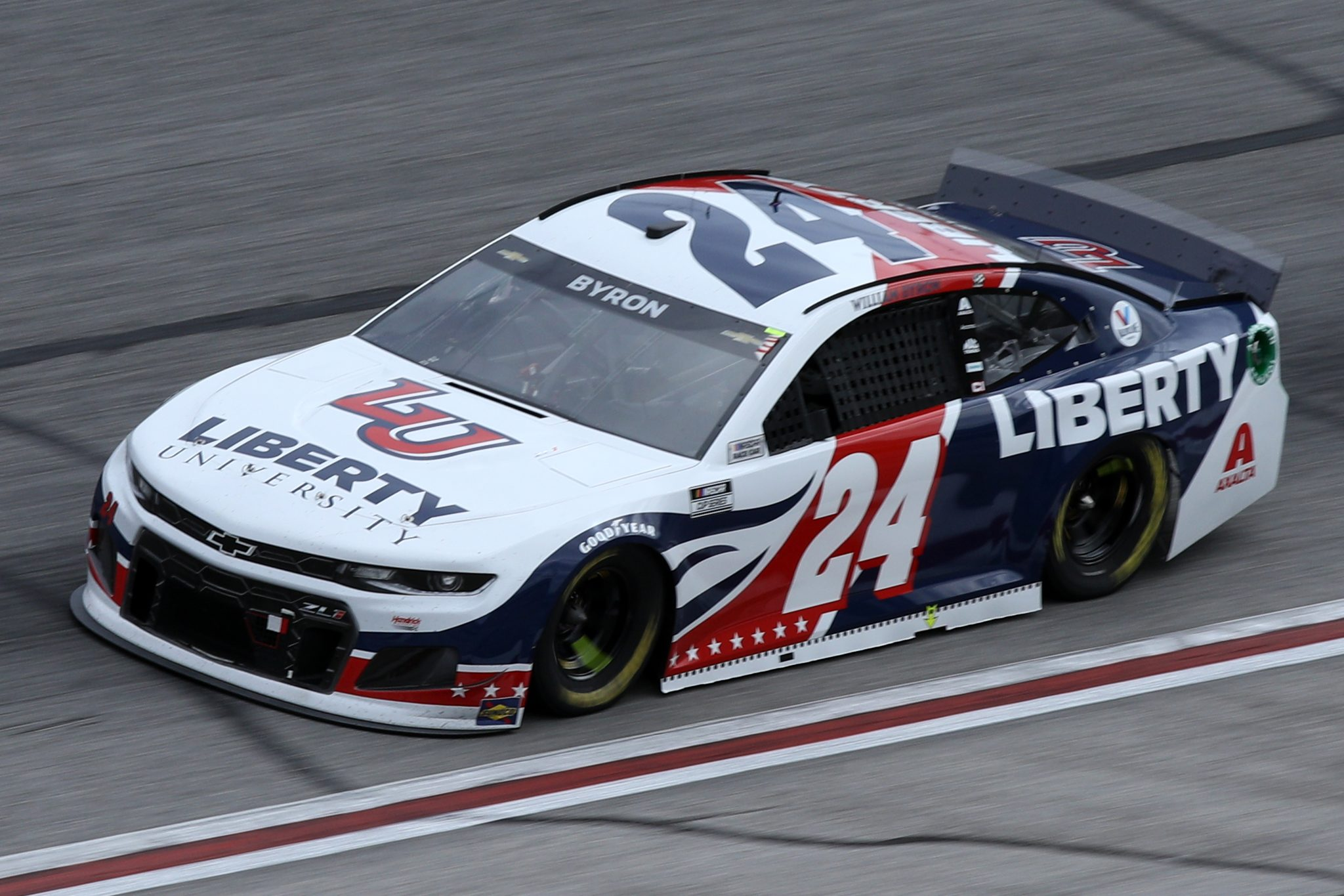 HAMPTON, GEORGIA - MARCH 21: William Byron, driver of the #24 Liberty University Chevrolet, drives during the NASCAR Cup Series Folds of Honor QuikTrip 500 at Atlanta Motor Speedway on March 21, 2021 in Hampton, Georgia. (Photo by Sean Gardner/Getty Images) | Getty Images