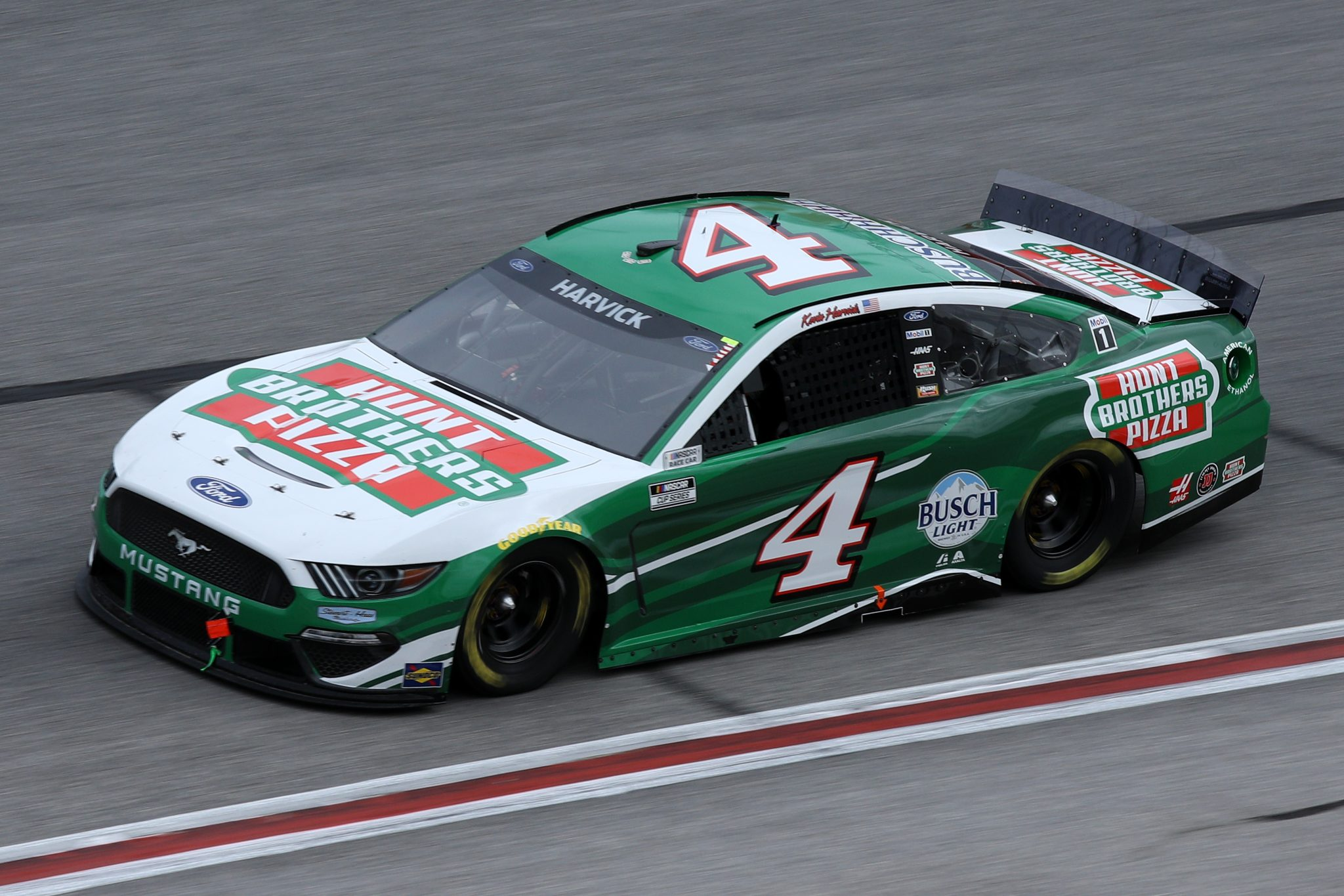 HAMPTON, GEORGIA - MARCH 21: Kevin Harvick, driver of the #4 Hunt Brothers Pizza Ford, drives during the NASCAR Cup Series Folds of Honor QuikTrip 500 at Atlanta Motor Speedway on March 21, 2021 in Hampton, Georgia. (Photo by Sean Gardner/Getty Images) | Getty Images