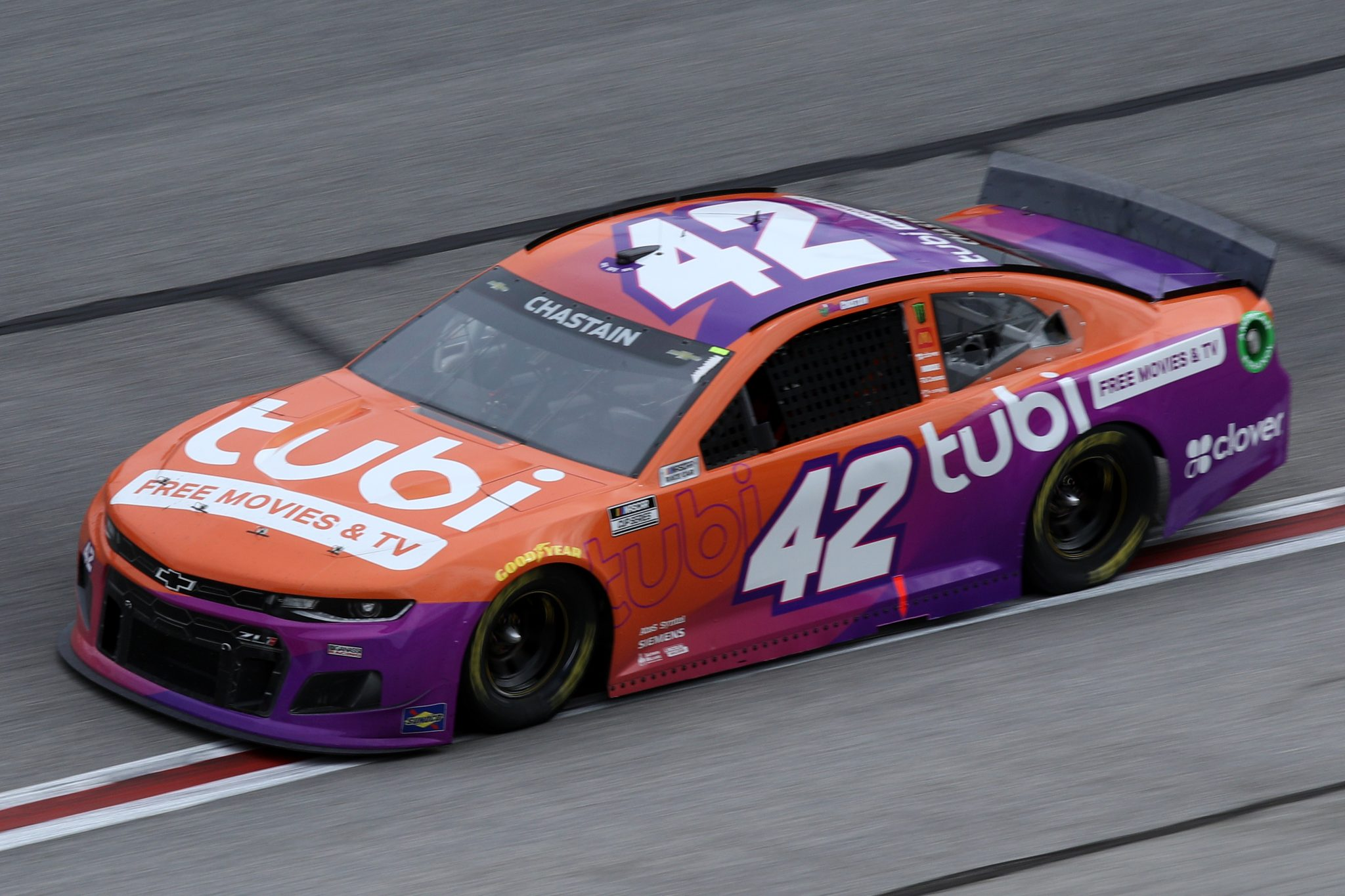 HAMPTON, GEORGIA - MARCH 21: Ross Chastain, driver of the #42 Tubi TV Chevrolet, drives during the NASCAR Cup Series Folds of Honor QuikTrip 500 at Atlanta Motor Speedway on March 21, 2021 in Hampton, Georgia. (Photo by Sean Gardner/Getty Images) | Getty Images