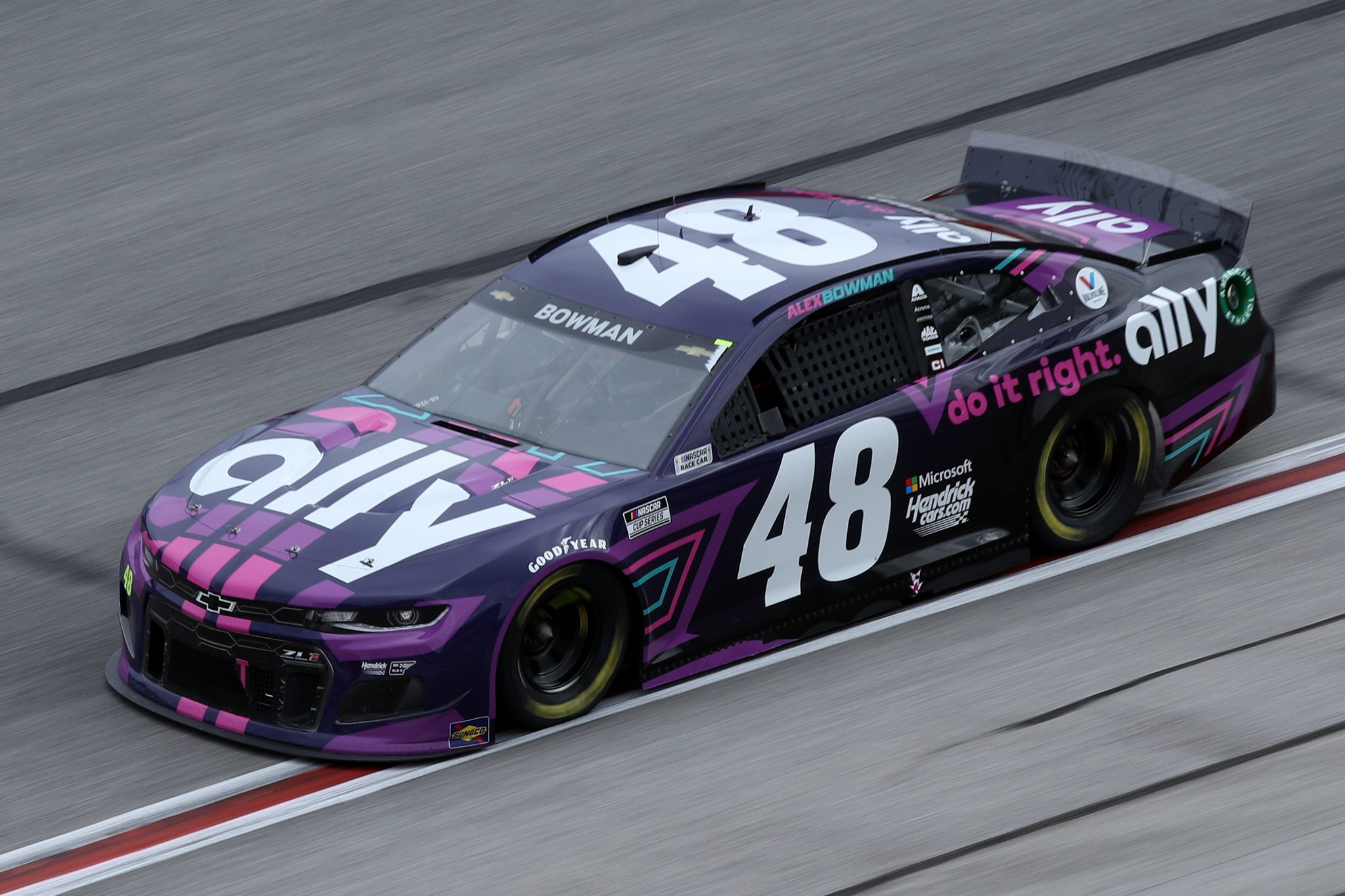 HAMPTON, GEORGIA - MARCH 21: Alex Bowman, driver of the #48 Ally Chevrolet, drives during the NASCAR Cup Series Folds of Honor QuikTrip 500 at Atlanta Motor Speedway on March 21, 2021 in Hampton, Georgia. (Photo by Sean Gardner/Getty Images) | Getty Images
