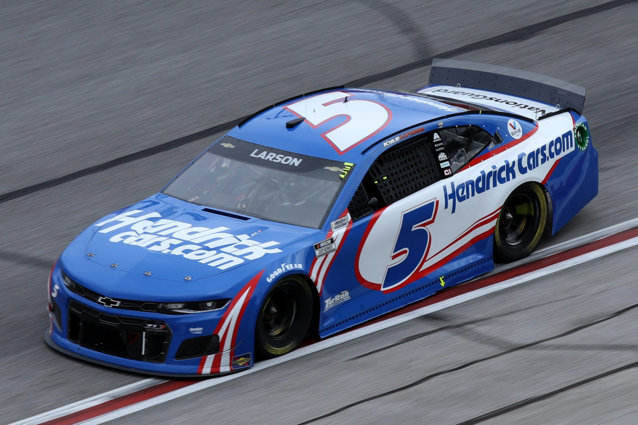 HAMPTON, GEORGIA - MARCH 21: Kyle Larson, driver of the #5 HendrickCars.com Chevrolet, drives during the NASCAR Cup Series Folds of Honor QuikTrip 500 at Atlanta Motor Speedway on March 21, 2021 in Hampton, Georgia. (Photo by Sean Gardner/Getty Images) | Getty Images