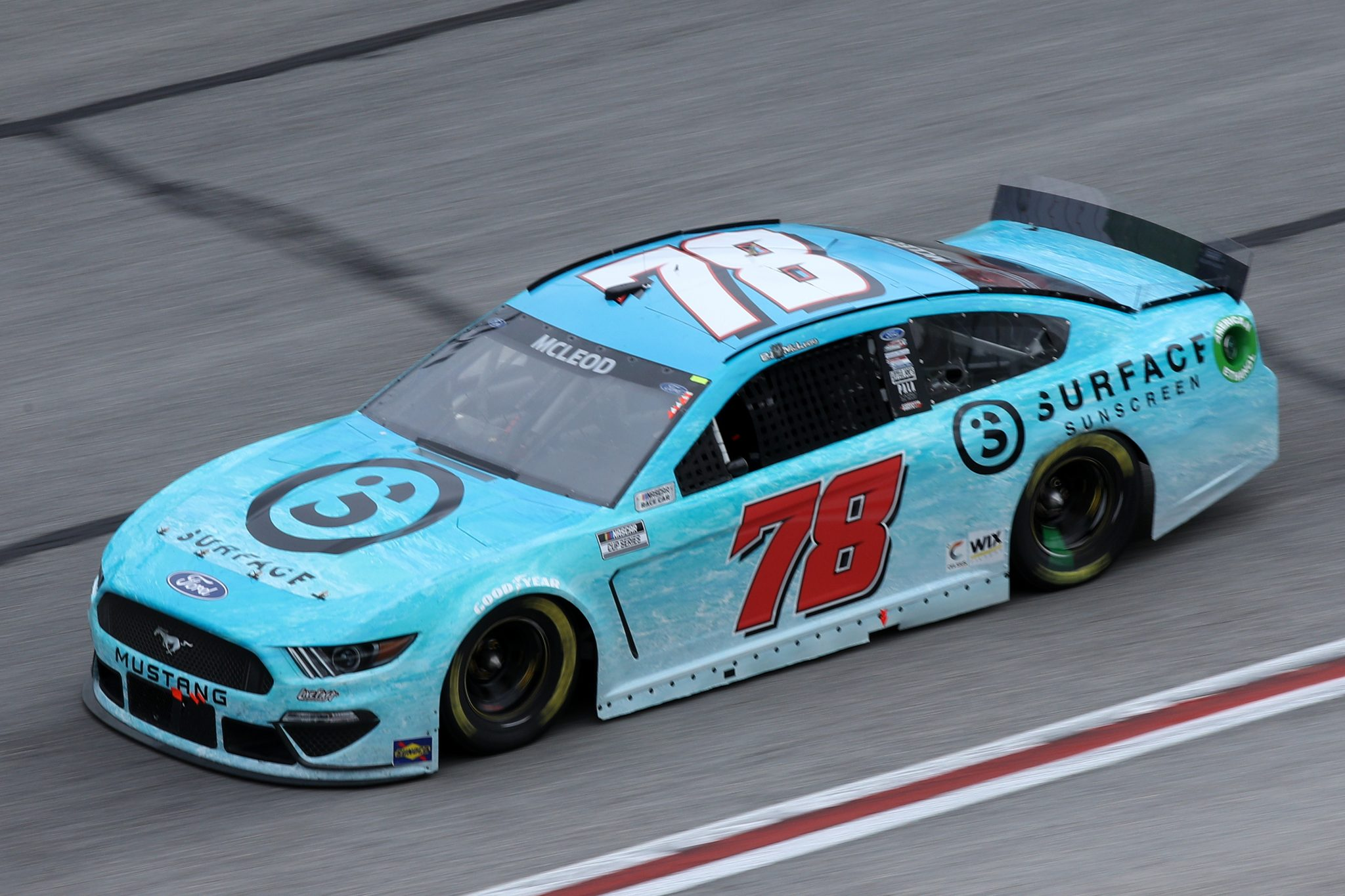 HAMPTON, GEORGIA - MARCH 21: BJ McLeod, driver of the #78 Surface Sunscreen Ford, drives during the NASCAR Cup Series Folds of Honor QuikTrip 500 at Atlanta Motor Speedway on March 21, 2021 in Hampton, Georgia. (Photo by Sean Gardner/Getty Images) | Getty Images