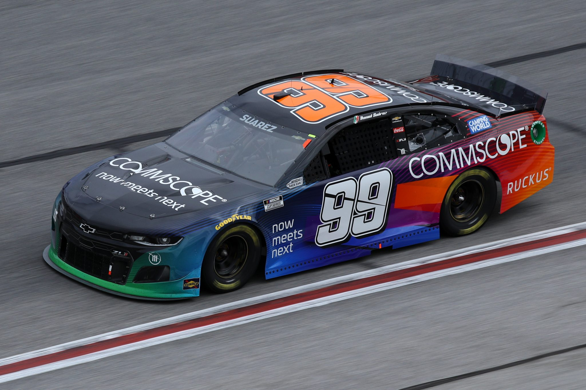 HAMPTON, GEORGIA - MARCH 21: Daniel Suarez, driver of the #99 CommScope Chevrolet, drives during the NASCAR Cup Series Folds of Honor QuikTrip 500 at Atlanta Motor Speedway on March 21, 2021 in Hampton, Georgia. (Photo by Sean Gardner/Getty Images) | Getty Images