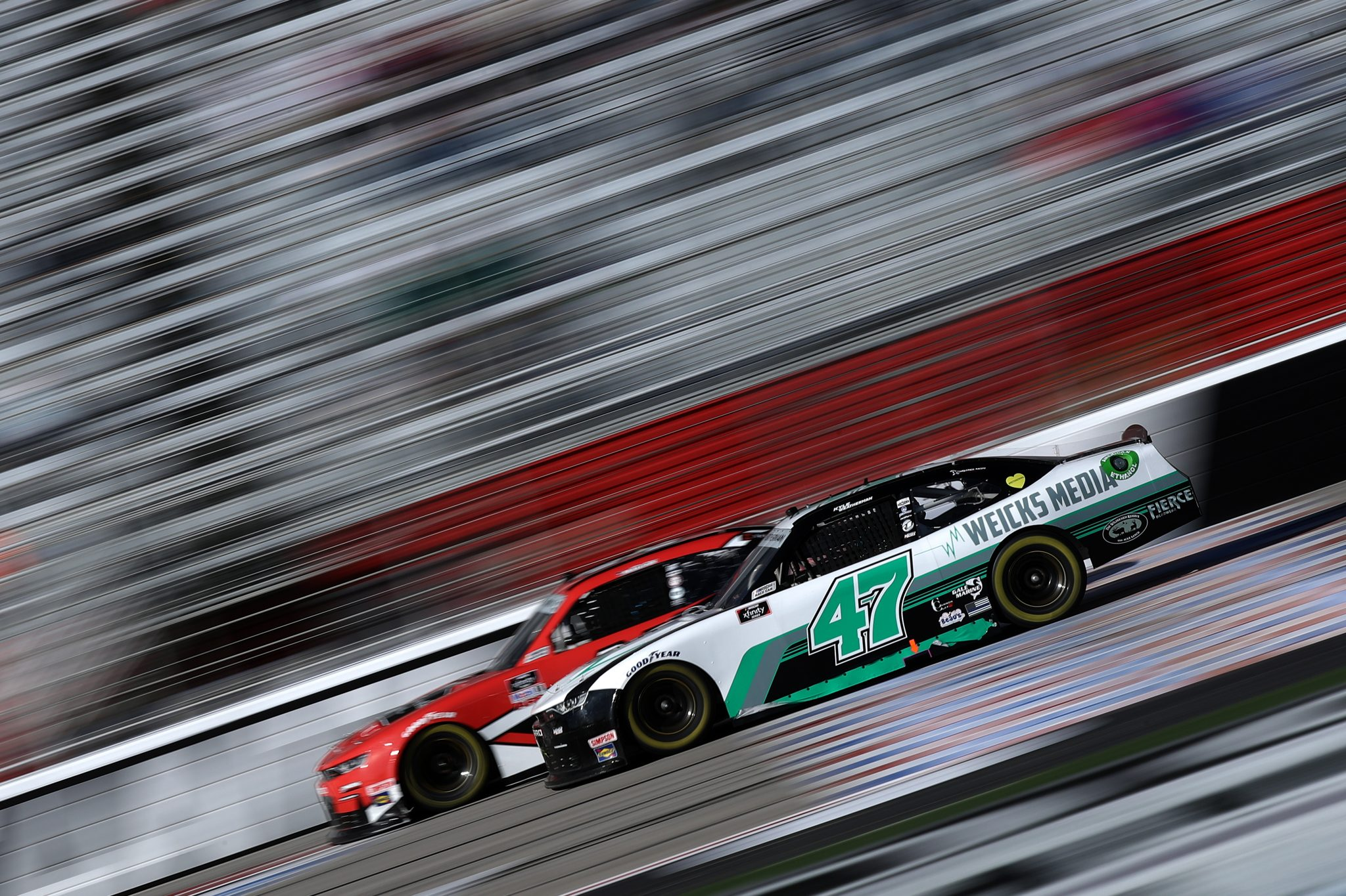 HAMPTON, GEORGIA - MARCH 20: Kyle Weatherman, driver of the #47 Weicks Media Chevrolet, drives during the NASCAR Xfinity Series EchoPark 250 at Atlanta Motor Speedway on March 20, 2021 in Hampton, Georgia. (Photo by Sean Gardner/Getty Images) | Getty Images