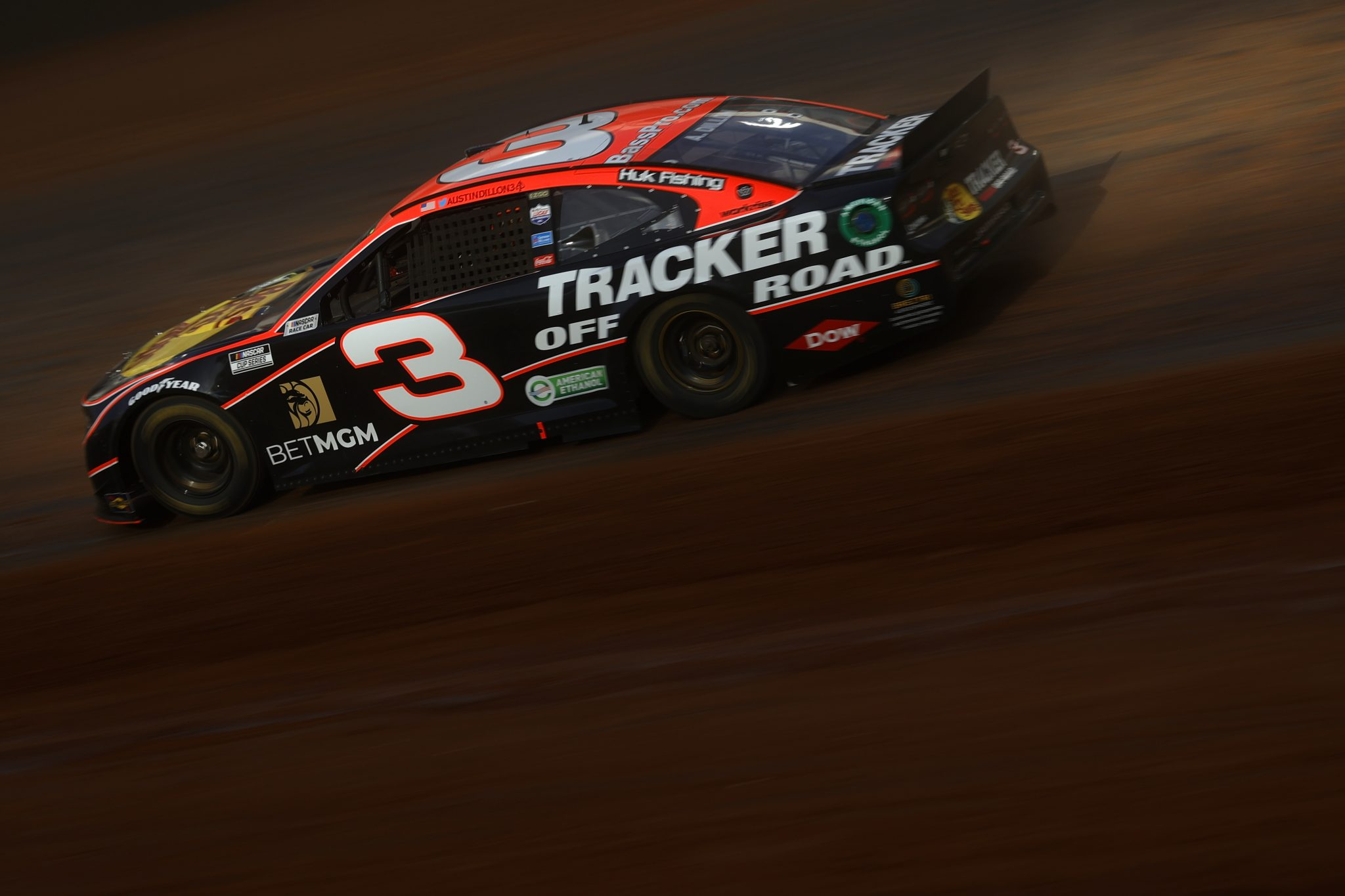 BRISTOL, TENNESSEE - MARCH 26: Austin Dillon, driver of the #3 Bass Pro Shops/Tracker Off Road Chevrolet, drives during practice for the NASCAR Cup Series Food City Dirt Race at Bristol Motor Speedway on March 26, 2021 in Bristol, Tennessee. (Photo by Chris Graythen/Getty Images)   Getty Images