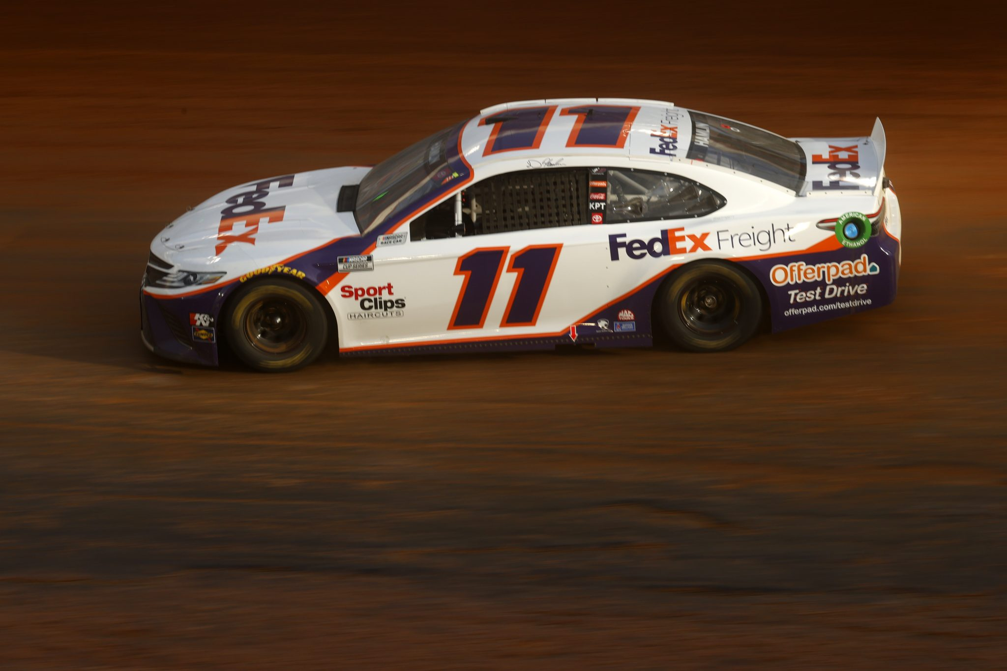 BRISTOL, TENNESSEE - MARCH 26: Denny Hamlin, driver of the #11 FedEx Freight Toyota, drives during practice for the NASCAR Cup Series Food City Dirt Race at Bristol Motor Speedway on March 26, 2021 in Bristol, Tennessee. (Photo by Chris Graythen/Getty Images) | Getty Images
