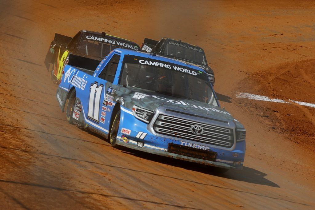 BRISTOL, TENNESSEE - MARCH 26: Bubba Wallace, driver of the #11 Columbia Outdoor Clothing Toyota, drives during practice for the NASCAR Camping World Truck Series Pinty's Truck Race on Dirt at Bristol Motor Speedway on March 26, 2021 in Bristol, Tennessee. (Photo by Jared C. Tilton/Getty Images) | Getty Images