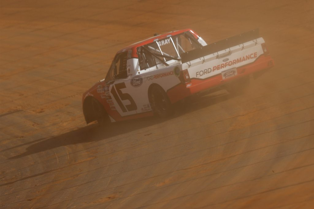 BRISTOL, TENNESSEE - MARCH 26: Tanner Gray, driver of the #15 Ford Performance Ford, drives during practice for the NASCAR Camping World Truck Series Pinty's Truck Race on Dirt at Bristol Motor Speedway on March 26, 2021 in Bristol, Tennessee. (Photo by Jared C. Tilton/Getty Images) | Getty Images