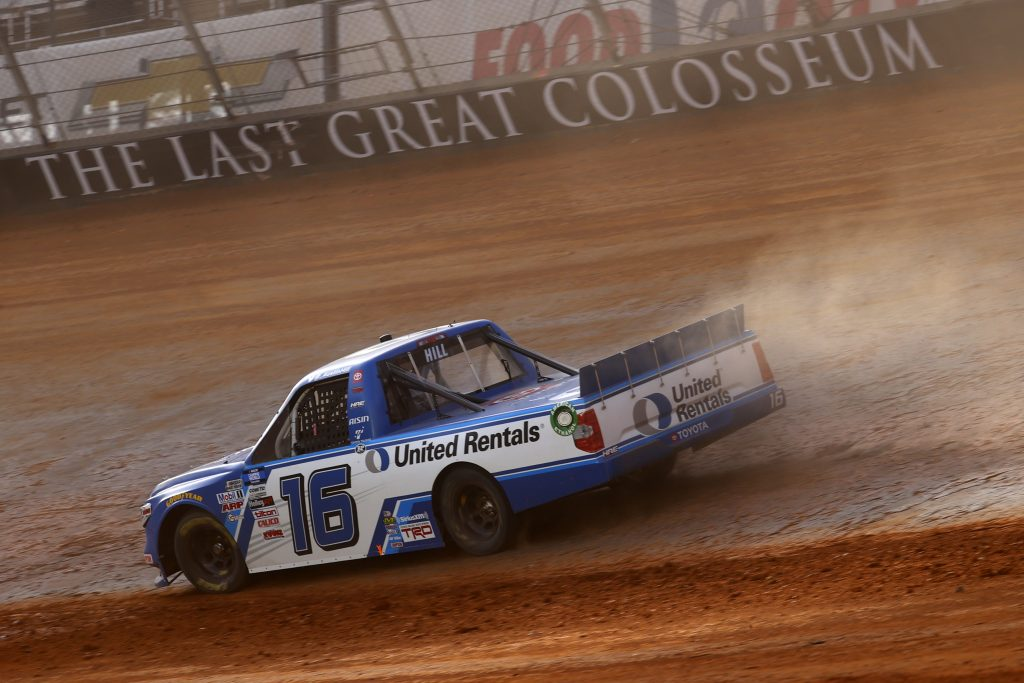 BRISTOL, TENNESSEE - MARCH 26: Austin Hill, driver of the #16 United Rentals Toyota, drives during practice for the NASCAR Camping World Truck Series Pinty's Truck Race on Dirt at Bristol Motor Speedway on March 26, 2021 in Bristol, Tennessee. (Photo by Chris Graythen/Getty Images) | Getty Images