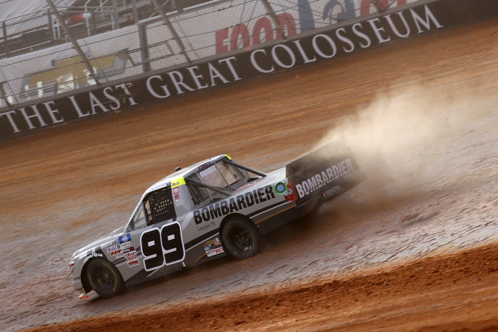 BRISTOL, TENNESSEE - MARCH 26: Ben Rhodes, driver of the #99 Bombardier LearJet 75 Toyota, drives during practice for the NASCAR Camping World Truck Series Pinty's Truck Race on Dirt at Bristol Motor Speedway on March 26, 2021 in Bristol, Tennessee. (Photo by Chris Graythen/Getty Images) | Getty Images