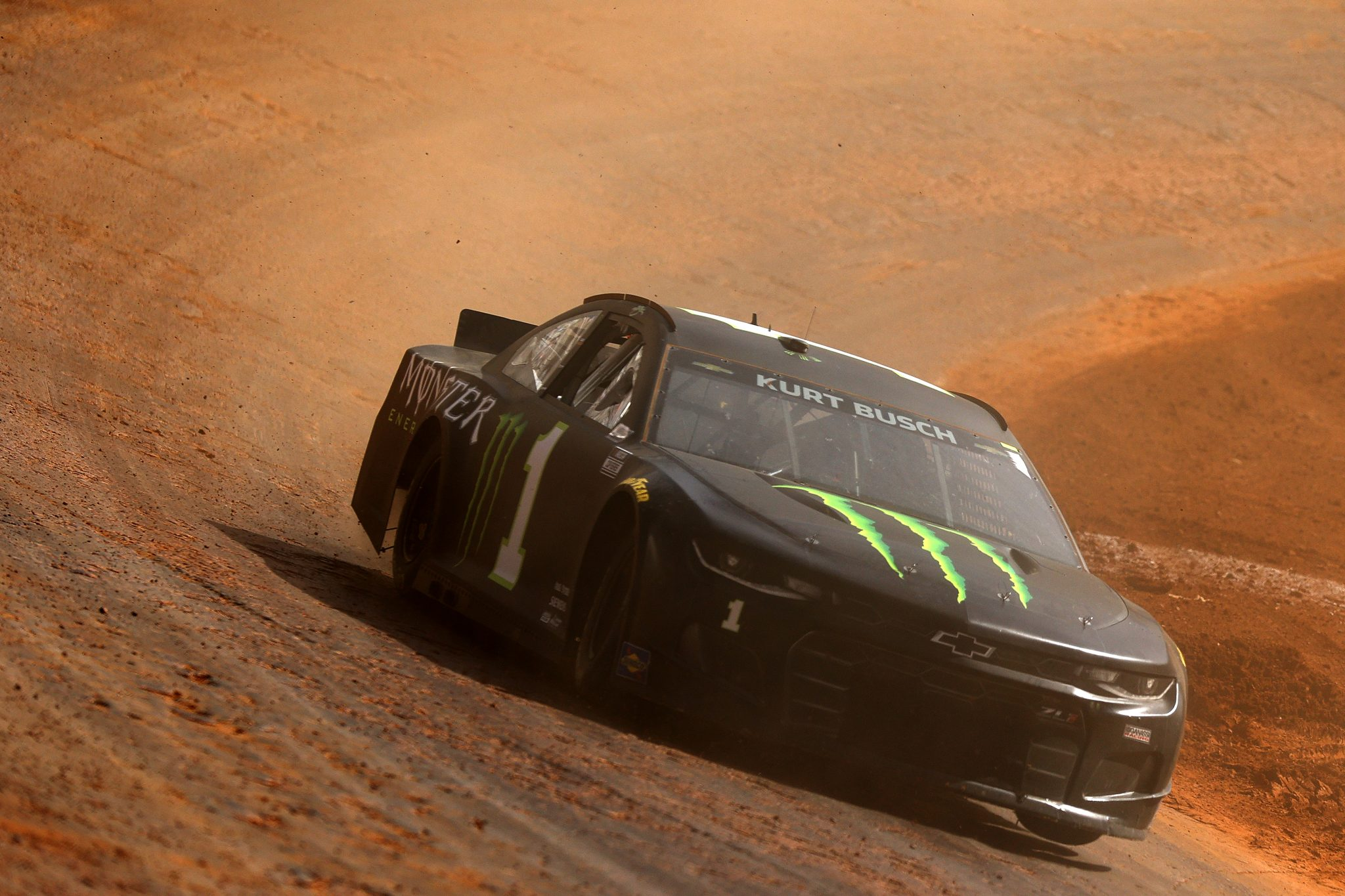BRISTOL, TENNESSEE - MARCH 26: Kurt Busch, driver of the #1 Monster Energy Chevrolet, drives during practice for the NASCAR Cup Series Food City Dirt Race at Bristol Motor Speedway on March 26, 2021 in Bristol, Tennessee. (Photo by Jared C. Tilton/Getty Images) | Getty Images