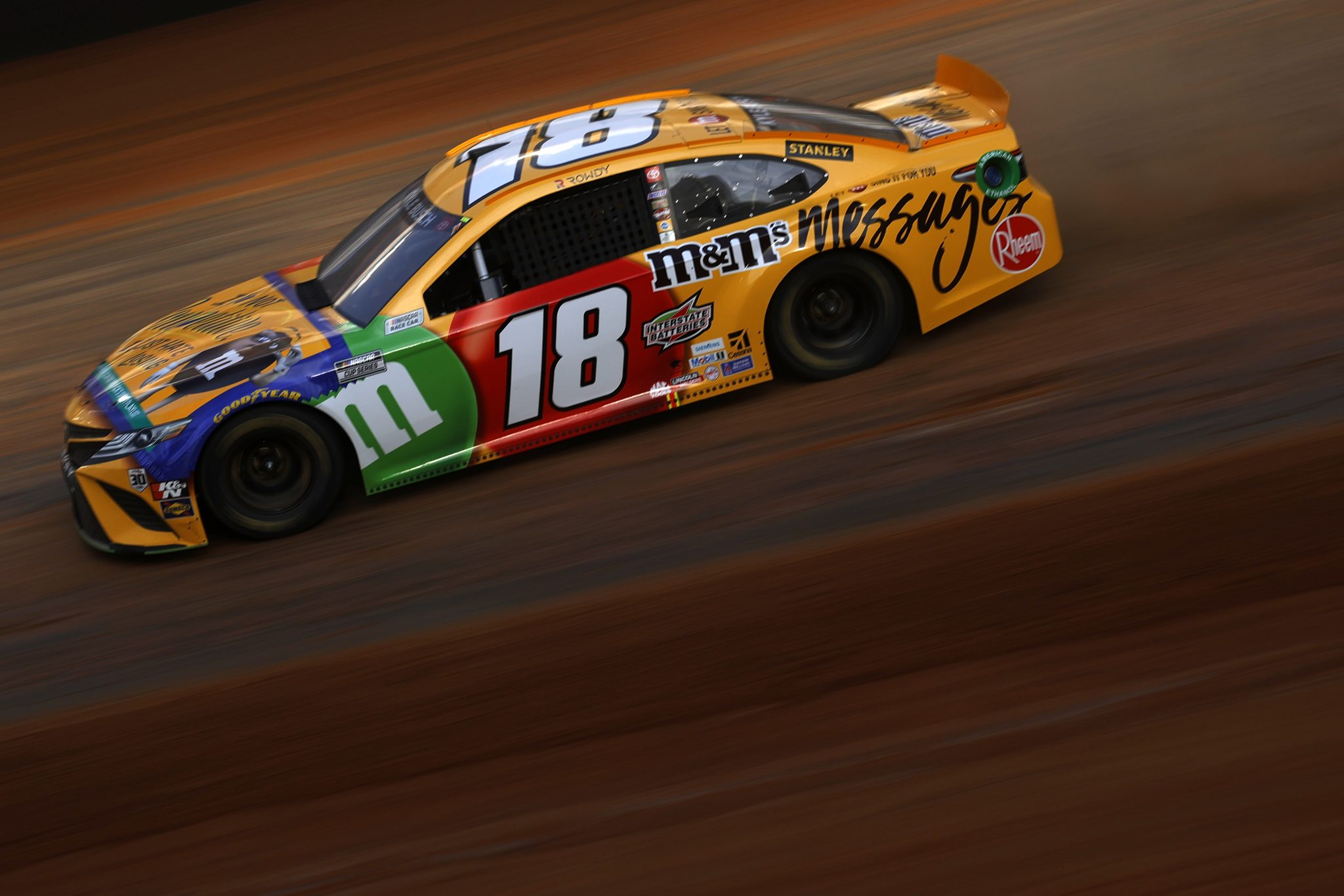 BRISTOL, TENNESSEE - MARCH 26: Kyle Busch, driver of the #18 M&M's Messages Toyota, drives during practice for the NASCAR Cup Series Food City Dirt Race at Bristol Motor Speedway on March 26, 2021 in Bristol, Tennessee. (Photo by Chris Graythen/Getty Images) | Getty Images