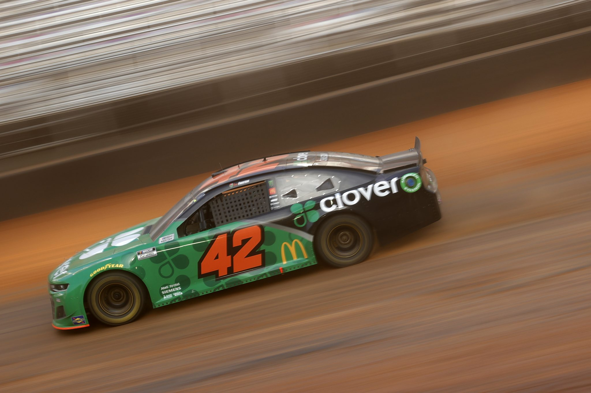BRISTOL, TENNESSEE - MARCH 26: Ross Chastain, driver of the #42 Clover Chevrolet, drives during practice for the NASCAR Cup Series Food City Dirt Race at Bristol Motor Speedway on March 26, 2021 in Bristol, Tennessee. (Photo by Chris Graythen/Getty Images) | Getty Images