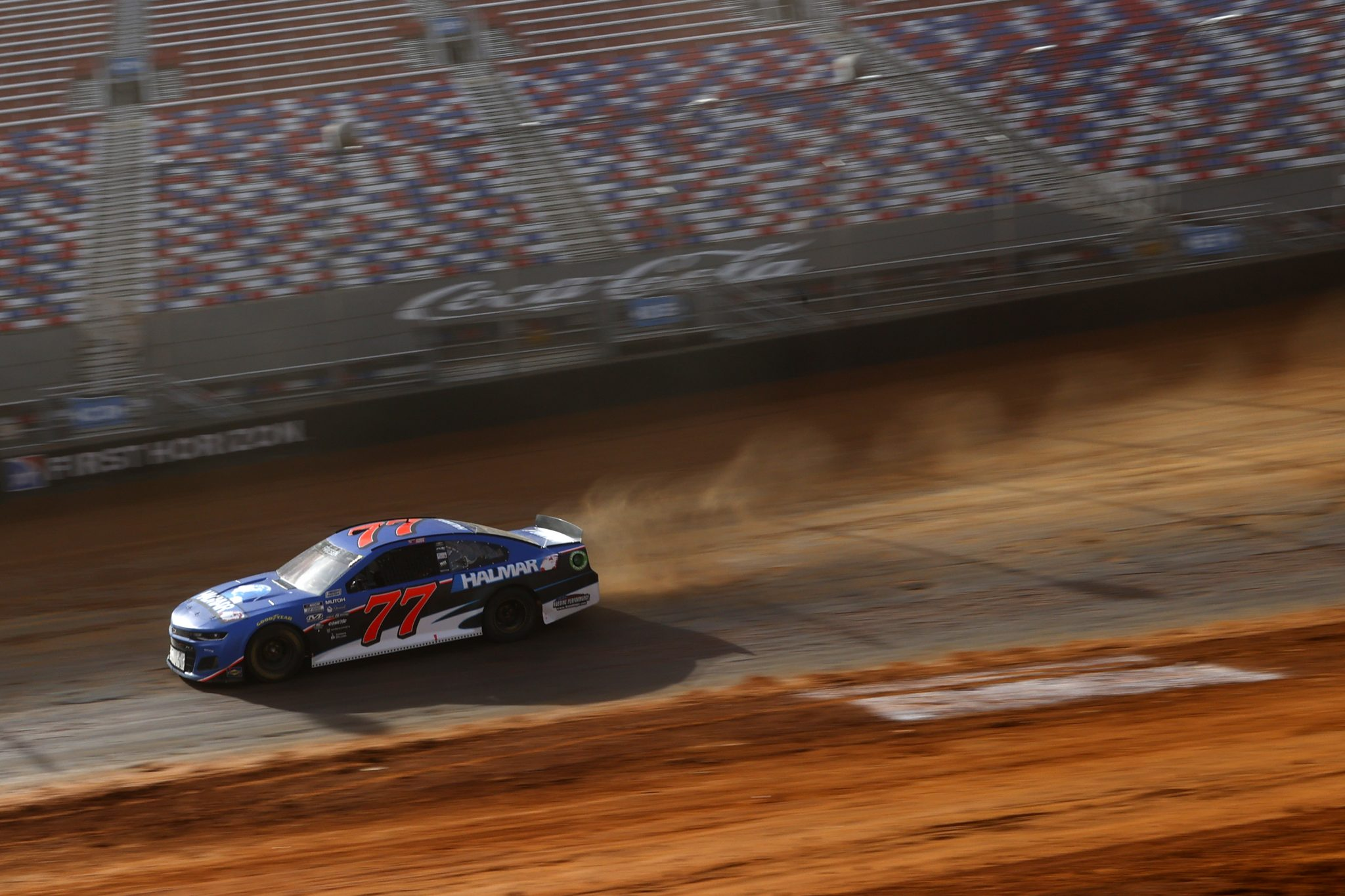 BRISTOL, TENNESSEE - MARCH 26: Stewart Friesen, driver of the #77 Halmar International Chevrolet, drives during practice for the NASCAR Cup Series Food City Dirt Race at Bristol Motor Speedway on March 26, 2021 in Bristol, Tennessee. (Photo by Chris Graythen/Getty Images) | Getty Images