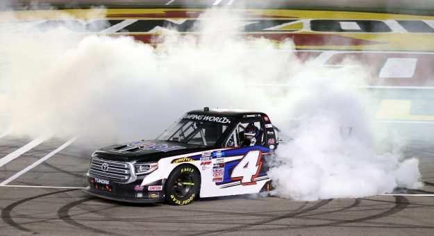 LAS VEGAS, NEVADA - MARCH 05: John Hunter Nemechek, driver of the #4 Mobil 1 Toyota, celebrates with a burnout after winning the NASCAR Camping World Truck Series Bucked Up 200 at The Bullring at Las Vegas Motor Speedway on March 05, 2021 in Las Vegas, Nevada. (Photo by Abbie Parr/Getty Images)   Getty Images