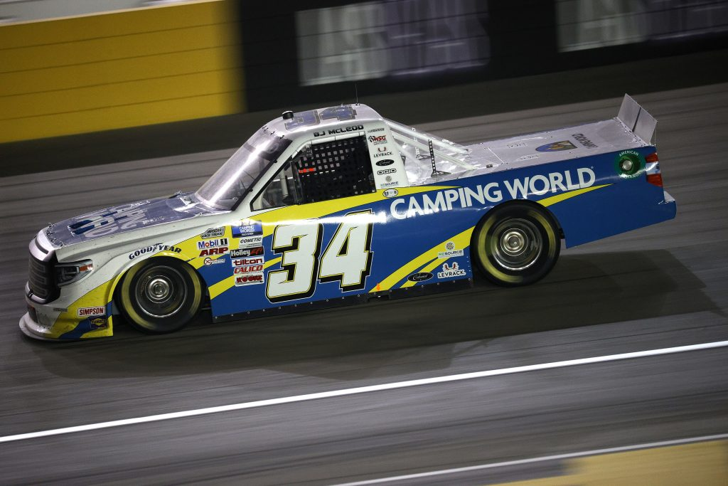 LAS VEGAS, NEVADA - MARCH 05: BJ McLeod, driver of the #34 Camping World Toyota, drives during the NASCAR Camping World Truck Series Bucked Up 200 at The Bullring at Las Vegas Motor Speedway on March 05, 2021 in Las Vegas, Nevada. (Photo by Chris Graythen/Getty Images) | Getty Images