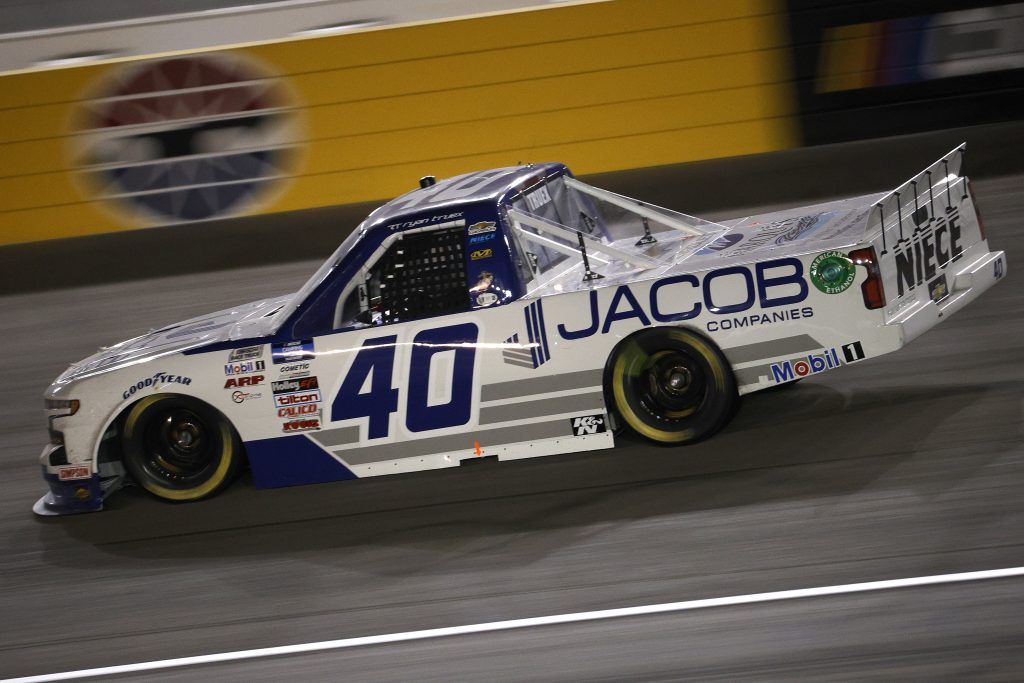 LAS VEGAS, NEVADA - MARCH 05: Ryan Truex, driver of the #40 Jacob Companies Chevrolet, drives during the NASCAR Camping World Truck Series Bucked Up 200 at The Bullring at Las Vegas Motor Speedway on March 05, 2021 in Las Vegas, Nevada. (Photo by Chris Graythen/Getty Images) | Getty Images