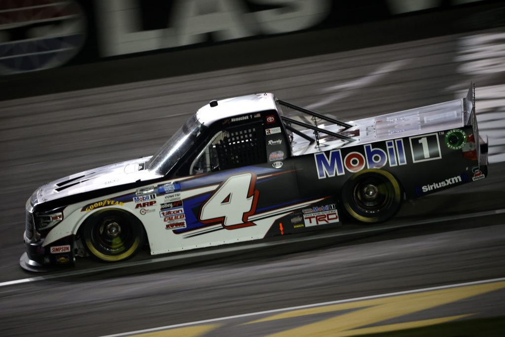 LAS VEGAS, NEVADA - MARCH 05: John Hunter Nemechek, driver of the #4 Mobil 1 Toyota, drives during the NASCAR Camping World Truck Series Bucked Up 200 at The Bullring at Las Vegas Motor Speedway on March 05, 2021 in Las Vegas, Nevada. (Photo by Chris Graythen/Getty Images) | Getty Images
