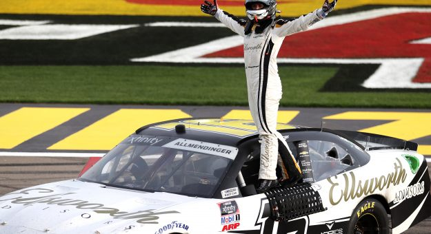 LAS VEGAS, NEVADA - MARCH 06: AJ Allmendinger, driver of the #16 Ellsworth Advisors Chevrolet, celebrates after winning the NASCAR Xfinity Series Alsco Uniforms 300 at The Bullring at Las Vegas Motor Speedway on March 06, 2021 in Las Vegas, Nevada. (Photo by Abbie Parr/Getty Images) | Getty Images