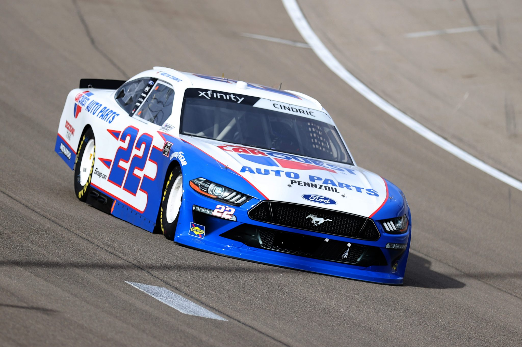 LAS VEGAS, NEVADA - MARCH 06: Austin Cindric, driver of the #22 Carquest Auto Parts Ford, drives during the NASCAR Xfinity Series Alsco Uniforms 300 at The Bullring at Las Vegas Motor Speedway on March 06, 2021 in Las Vegas, Nevada. (Photo by Abbie Parr/Getty Images) | Getty Images