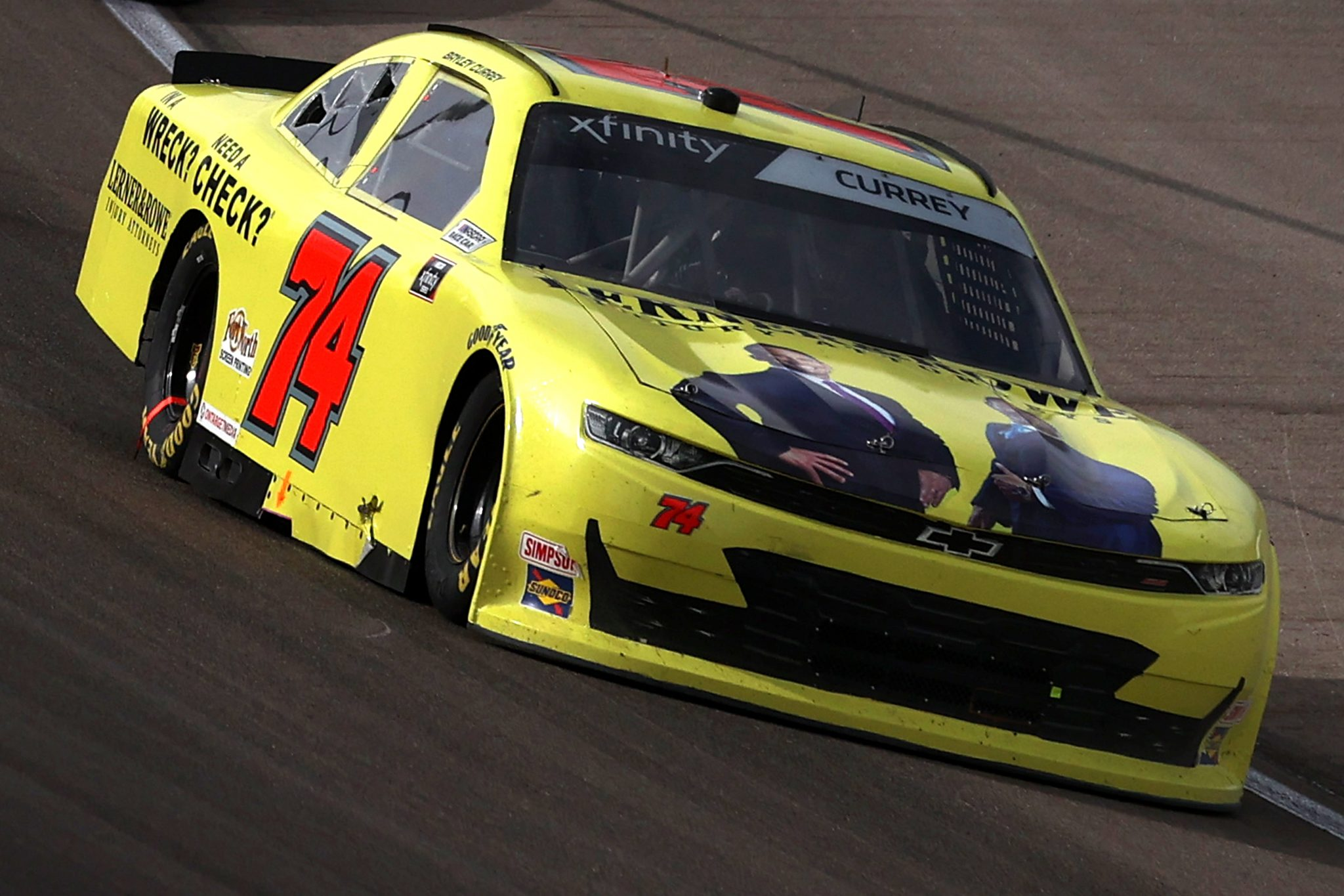 LAS VEGAS, NEVADA - MARCH 06: Bayley Currey, driver of the #74 Lerner & Rowe Chevrolet, drives during the NASCAR Xfinity Series Alsco Uniforms 300 at The Bullring at Las Vegas Motor Speedway on March 06, 2021 in Las Vegas, Nevada. (Photo by Abbie Parr/Getty Images) | Getty Images