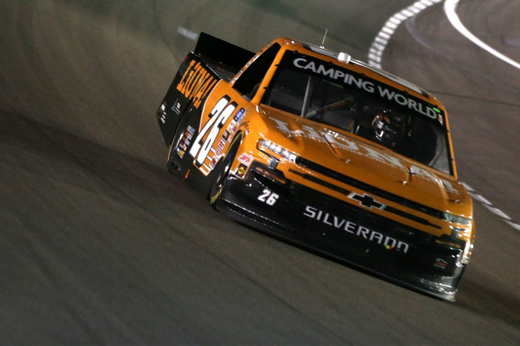 LAS VEGAS, NEVADA - MARCH 05: Tyler Ankrum, driver of the #26 LiUNA! Chevrolet, drives during the NASCAR Camping World Truck Series Bucked Up 200 at The Bullring at Las Vegas Motor Speedway on March 05, 2021 in Las Vegas, Nevada. (Photo by Brian Lawdermilk/Getty Images) | Getty Images