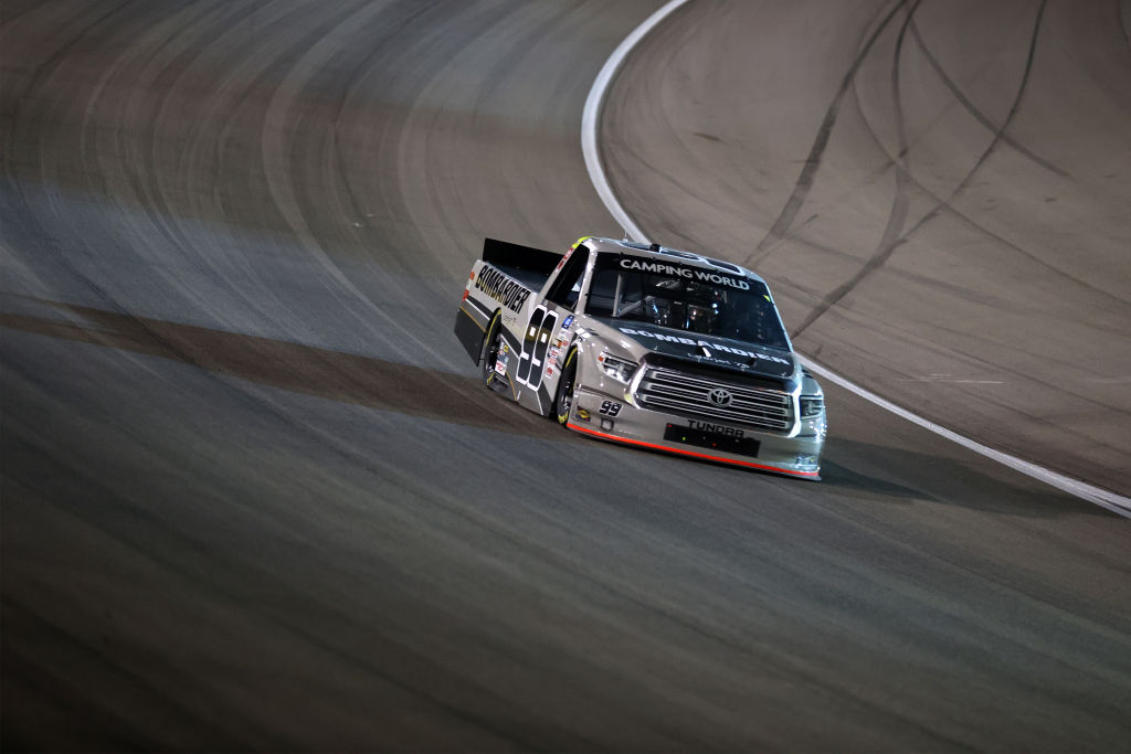 LAS VEGAS, NEVADA - MARCH 05: Ben Rhodes, driver of the #99 Bombardier LearJet 75 Toyota, drives during the NASCAR Camping World Truck Series Bucked Up 200 at The Bullring at Las Vegas Motor Speedway on March 05, 2021 in Las Vegas, Nevada. (Photo by Abbie Parr/Getty Images) | Getty Images