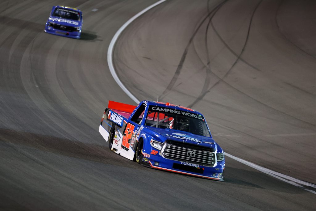 LAS VEGAS, NEVADA - MARCH 05: Stewart Friesen, driver of the #52 Halmar International Toyota, drives during the NASCAR Camping World Truck Series Bucked Up 200 at The Bullring at Las Vegas Motor Speedway on March 05, 2021 in Las Vegas, Nevada. (Photo by Abbie Parr/Getty Images) | Getty Images