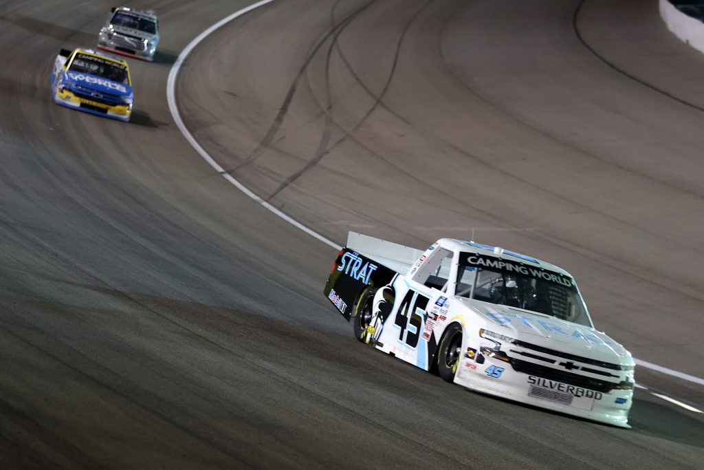 LAS VEGAS, NEVADA - MARCH 05: Brett Moffitt, driver of the #45 The Strat Chevrolet, drives during the NASCAR Camping World Truck Series Bucked Up 200 at The Bullring at Las Vegas Motor Speedway on March 05, 2021 in Las Vegas, Nevada. (Photo by Abbie Parr/Getty Images) | Getty Images