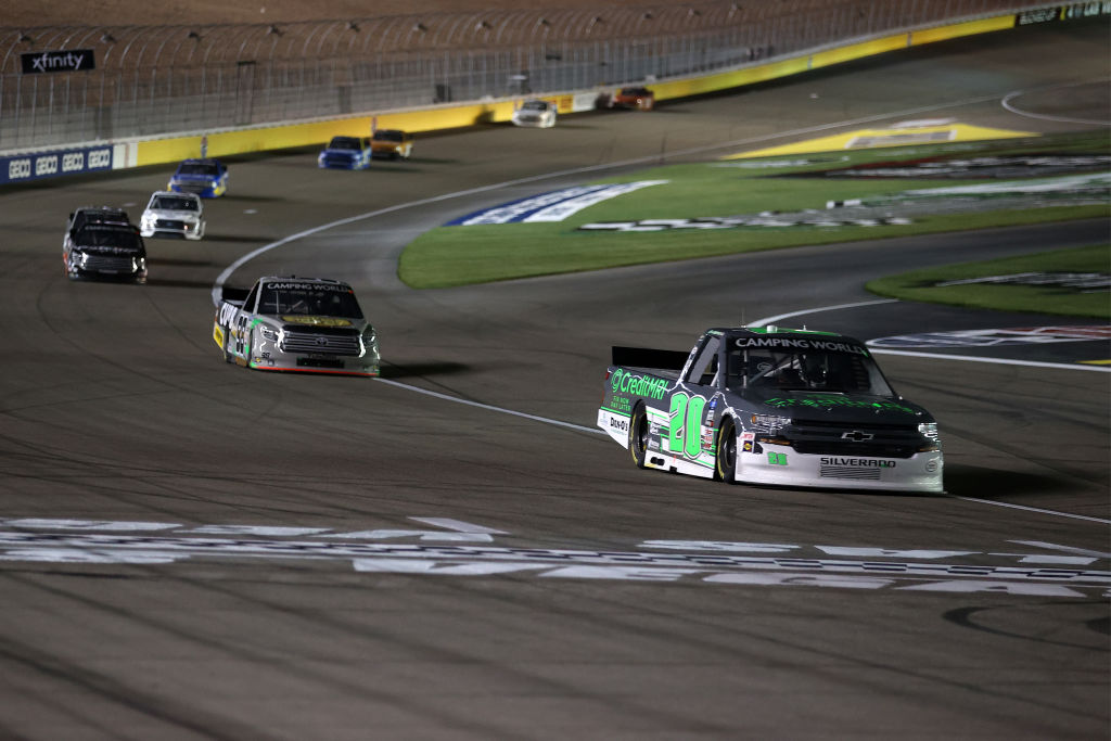 LAS VEGAS, NEVADA - MARCH 05: Spencer Boyd, driver of the #20 Credit MRI Chevrolet, drives during the NASCAR Camping World Truck Series Bucked Up 200 at The Bullring at Las Vegas Motor Speedway on March 05, 2021 in Las Vegas, Nevada. (Photo by Abbie Parr/Getty Images) | Getty Images