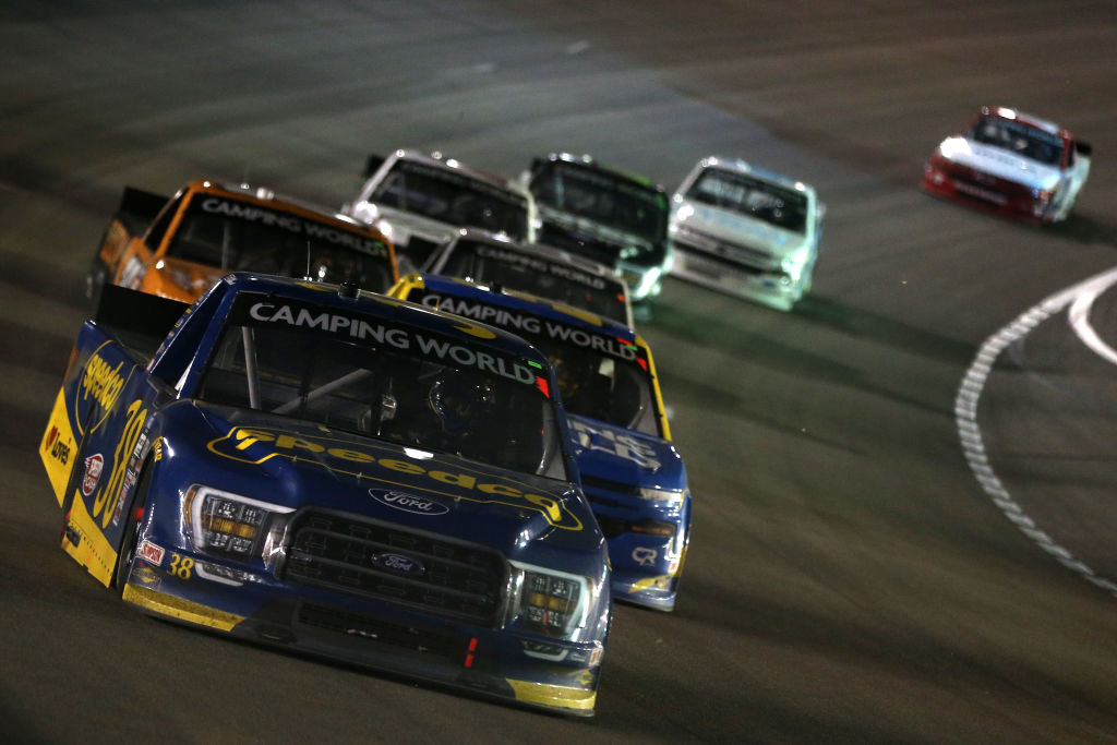 LAS VEGAS, NEVADA - MARCH 05: Todd Gilliland, driver of the #38 Speedco Ford, drives during the NASCAR Camping World Truck Series Bucked Up 200 at The Bullring at Las Vegas Motor Speedway on March 05, 2021 in Las Vegas, Nevada. (Photo by Brian Lawdermilk/Getty Images) | Getty Images