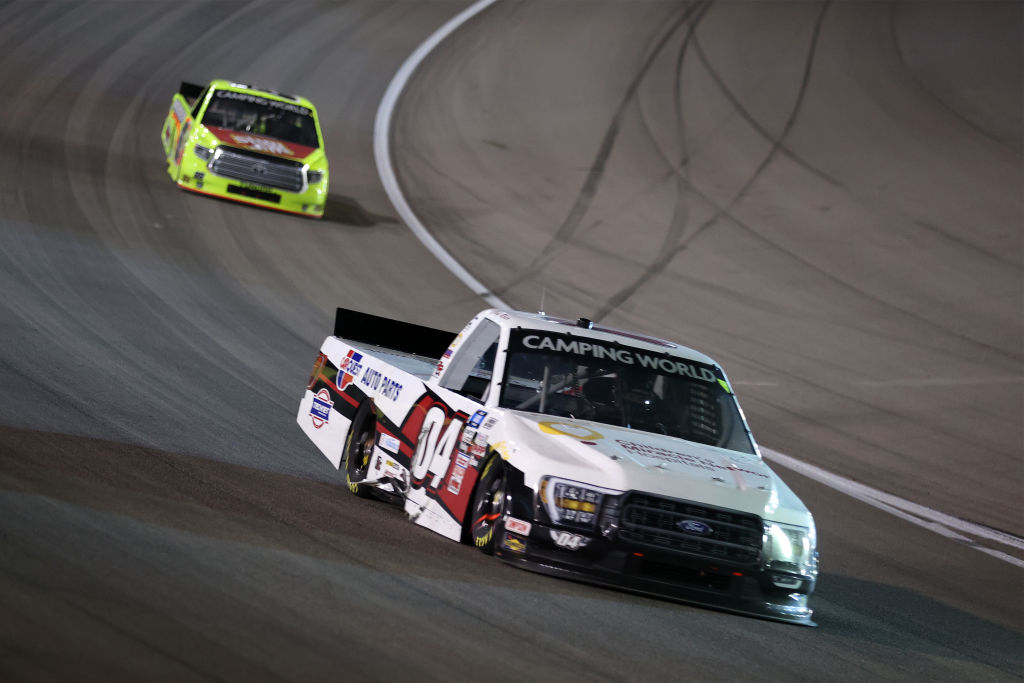 LAS VEGAS, NEVADA - MARCH 05: Cory Roper, driver of the #04 CMN Hospitals/CarQuest Ford, drives during the NASCAR Camping World Truck Series Bucked Up 200 at The Bullring at Las Vegas Motor Speedway on March 05, 2021 in Las Vegas, Nevada. (Photo by Abbie Parr/Getty Images) | Getty Images