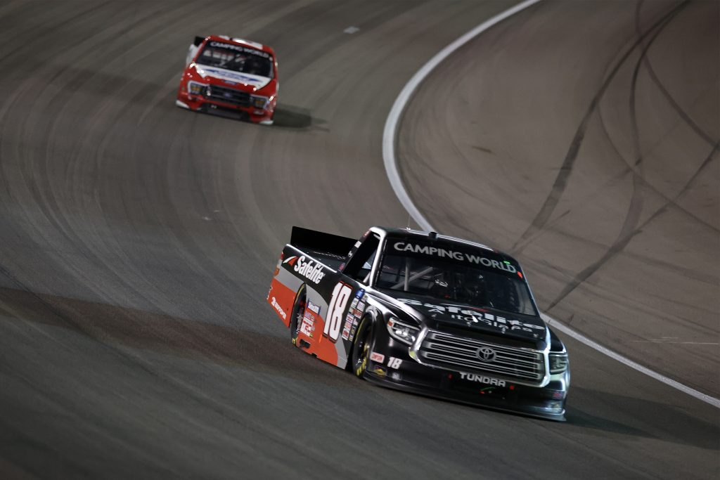 LAS VEGAS, NEVADA - MARCH 05: Chandler Smith, driver of the #18 Safelite AutoGlass Toyota, drives during the NASCAR Camping World Truck Series Bucked Up 200 at The Bullring at Las Vegas Motor Speedway on March 05, 2021 in Las Vegas, Nevada. (Photo by Abbie Parr/Getty Images) | Getty Images