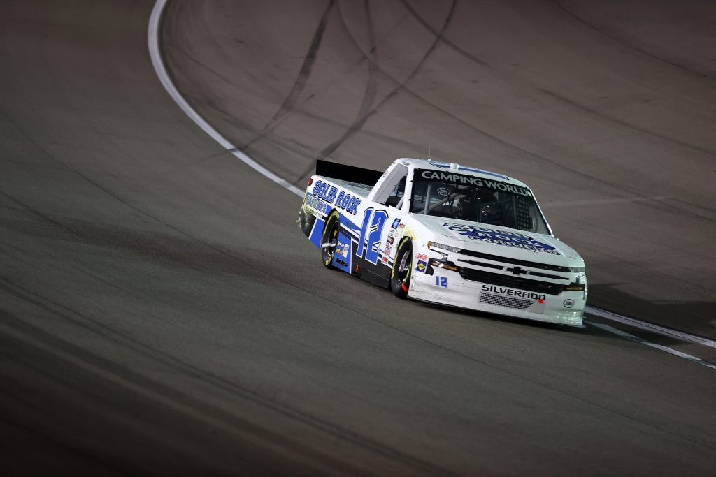 LAS VEGAS, NEVADA - MARCH 05: Tate Fogleman, driver of the #12 Solid Rock Carriers Chevrolet, drives during the NASCAR Camping World Truck Series Bucked Up 200 at The Bullring at Las Vegas Motor Speedway on March 05, 2021 in Las Vegas, Nevada. (Photo by Abbie Parr/Getty Images) | Getty Images