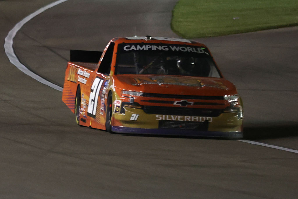 LAS VEGAS, NEVADA - MARCH 05: Zane Smith, driver of the #21 MRC Coduring drives the NASCAR Camping World Truck Series Bucked Up 200 at The Bullring at Las Vegas Motor Speedway on March 05, 2021 in Las Vegas, Nevada. (Photo by Abbie Parr/Getty Images) | Getty Images