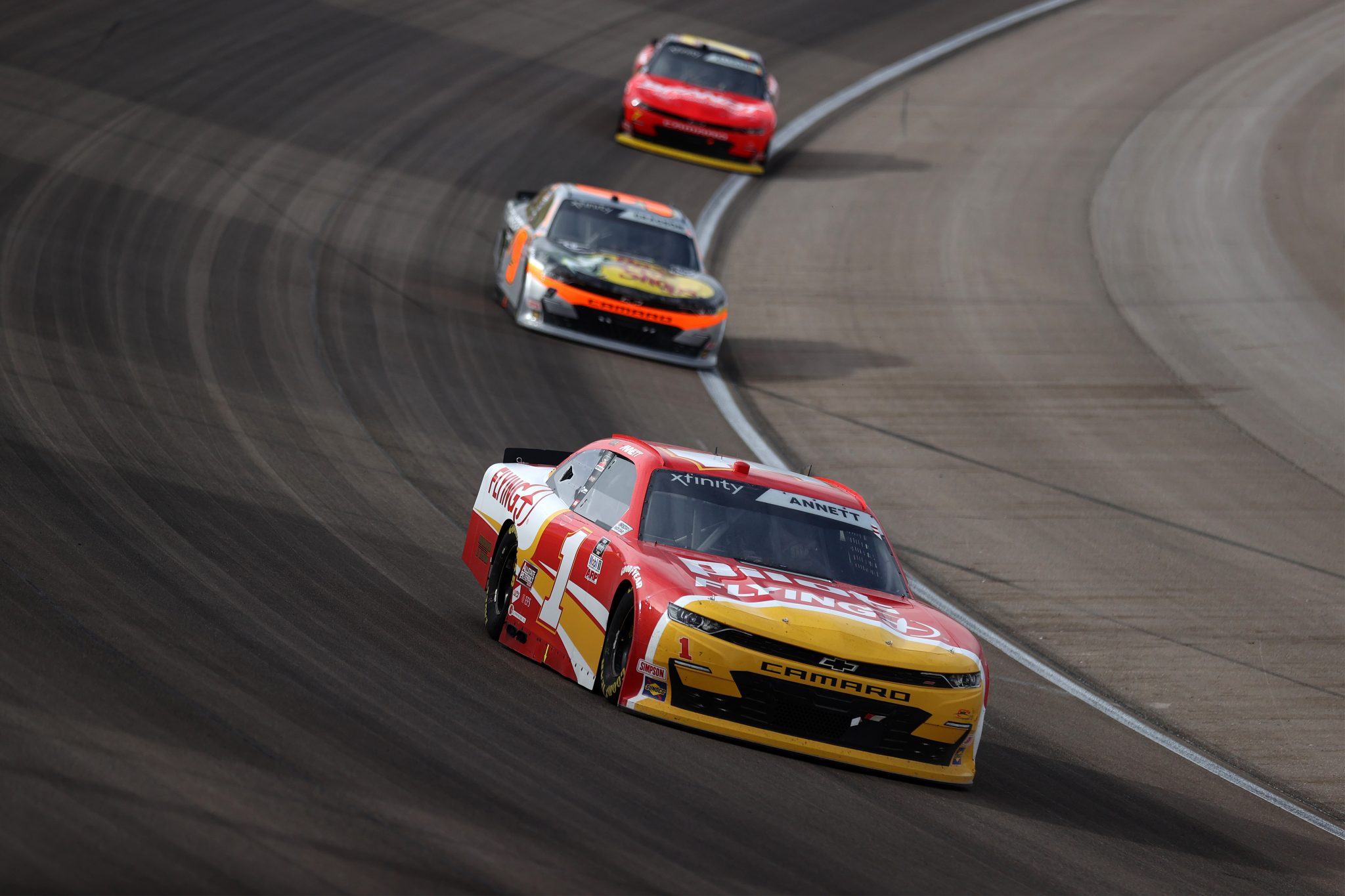 LAS VEGAS, NEVADA - MARCH 06: Michael Annett, driver of the #1 Pilot Flying J Chevrolet, leads the field during the NASCAR Xfinity Series Alsco Uniforms 300 at The Bullring at Las Vegas Motor Speedway on March 06, 2021 in Las Vegas, Nevada. (Photo by Abbie Parr/Getty Images) | Getty Images