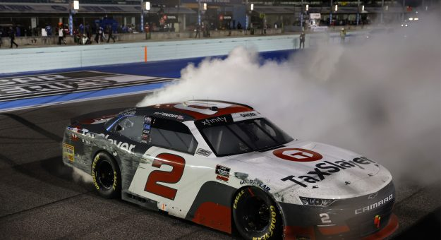 HOMESTEAD, FLORIDA - FEBRUARY 27: Myatt Snider, driver of the #2 TaxSlayer Chevrolet, celebrates with a burnout after winning the NASCAR Xfinity Series Contender Boats 250 at Homestead-Miami Speedway on February 27, 2021 in Homestead, Florida. (Photo by Michael Reaves/Getty Images) | Getty Images
