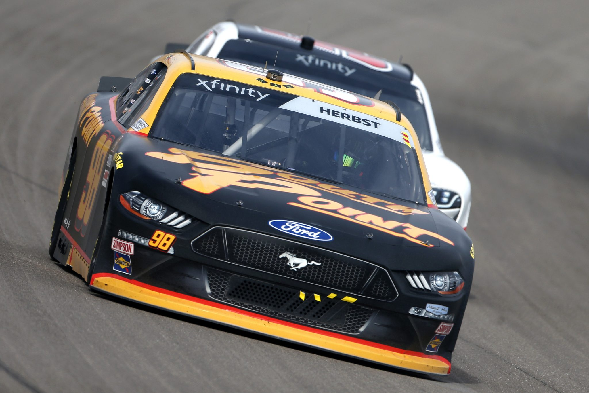 LAS VEGAS, NEVADA - MARCH 06: Riley Herbst, driver of the #98 South Point Ford, drives during the NASCAR Xfinity Series Alsco Uniforms 300 at The Bullring at Las Vegas Motor Speedway on March 06, 2021 in Las Vegas, Nevada. (Photo by Brian Lawdermilk/Getty Images) | Getty Images