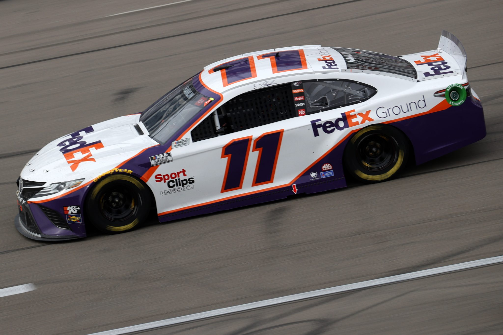 LAS VEGAS, NEVADA - MARCH 07: Denny Hamlin, driver of the #11 FedEx Ground Toyota, drives during the NASCAR Cup Series Pennzoil 400 presented by Jiffy Lube at the Las Vegas Motor Speedway on March 07, 2021 in Las Vegas, Nevada. (Photo by Chris Graythen/Getty Images) | Getty Images