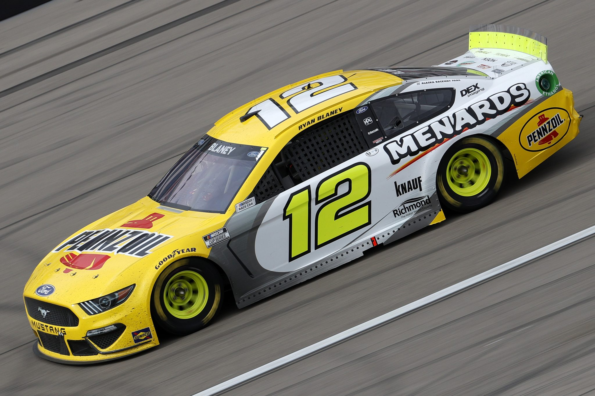 LAS VEGAS, NEVADA - MARCH 07: Ryan Blaney, driver of the #12 Menards/Pennzoil Ford, drives during the NASCAR Cup Series Pennzoil 400 presented by Jiffy Lube at the Las Vegas Motor Speedway on March 07, 2021 in Las Vegas, Nevada. (Photo by Chris Graythen/Getty Images) | Getty Images