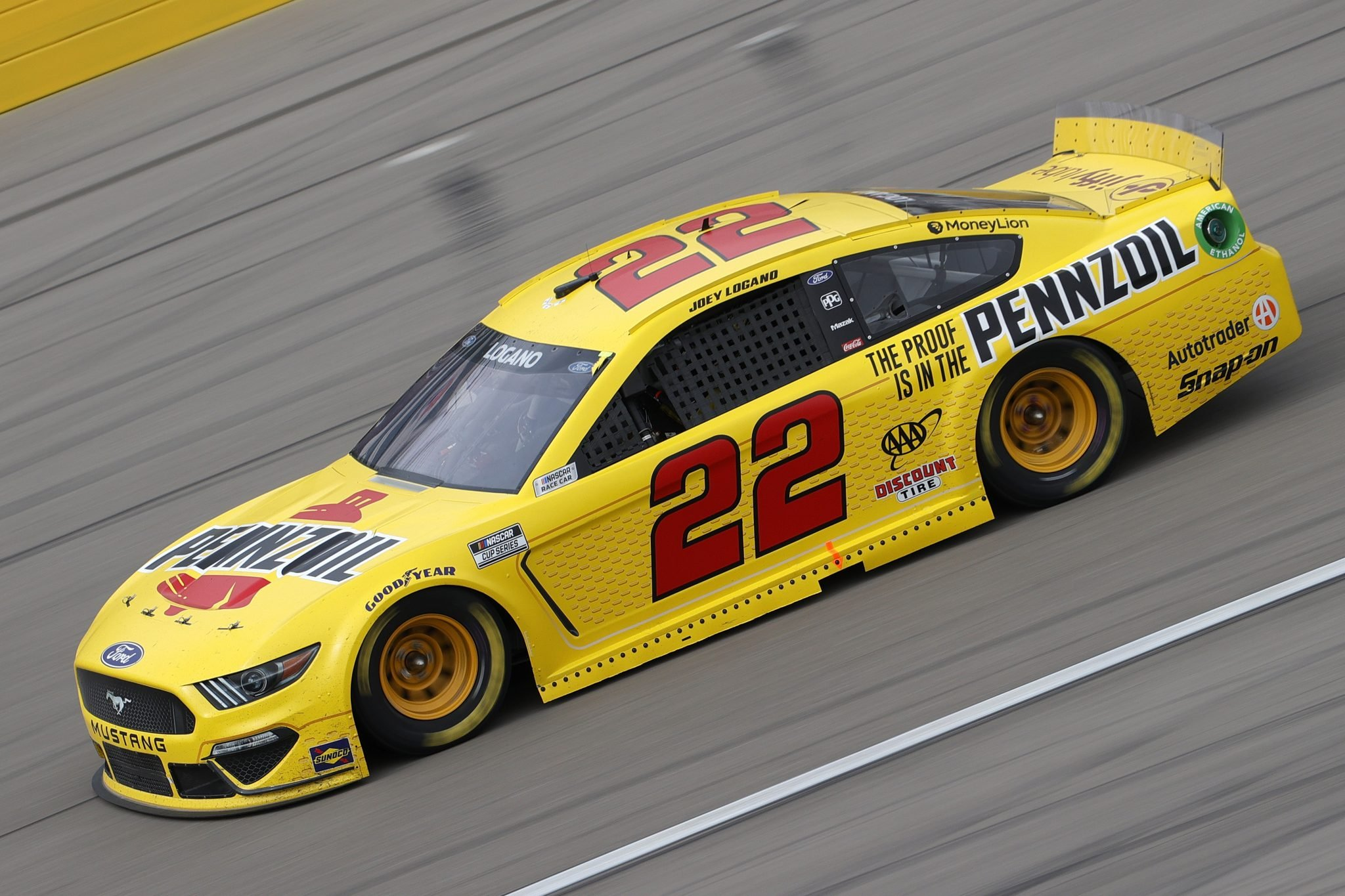 LAS VEGAS, NEVADA - MARCH 07: Joey Logano, driver of the #22 Pennzoil Ford, drives during the NASCAR Cup Series Pennzoil 400 presented by Jiffy Lube at the Las Vegas Motor Speedway on March 07, 2021 in Las Vegas, Nevada. (Photo by Chris Graythen/Getty Images) | Getty Images