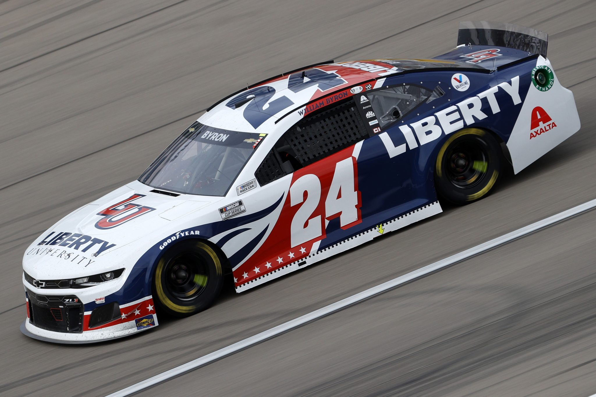 LAS VEGAS, NEVADA - MARCH 07: William Byron, driver of the #24 Liberty University Chevrolet, drives during the NASCAR Cup Series Pennzoil 400 presented by Jiffy Lube at the Las Vegas Motor Speedway on March 07, 2021 in Las Vegas, Nevada. (Photo by Chris Graythen/Getty Images) | Getty Images