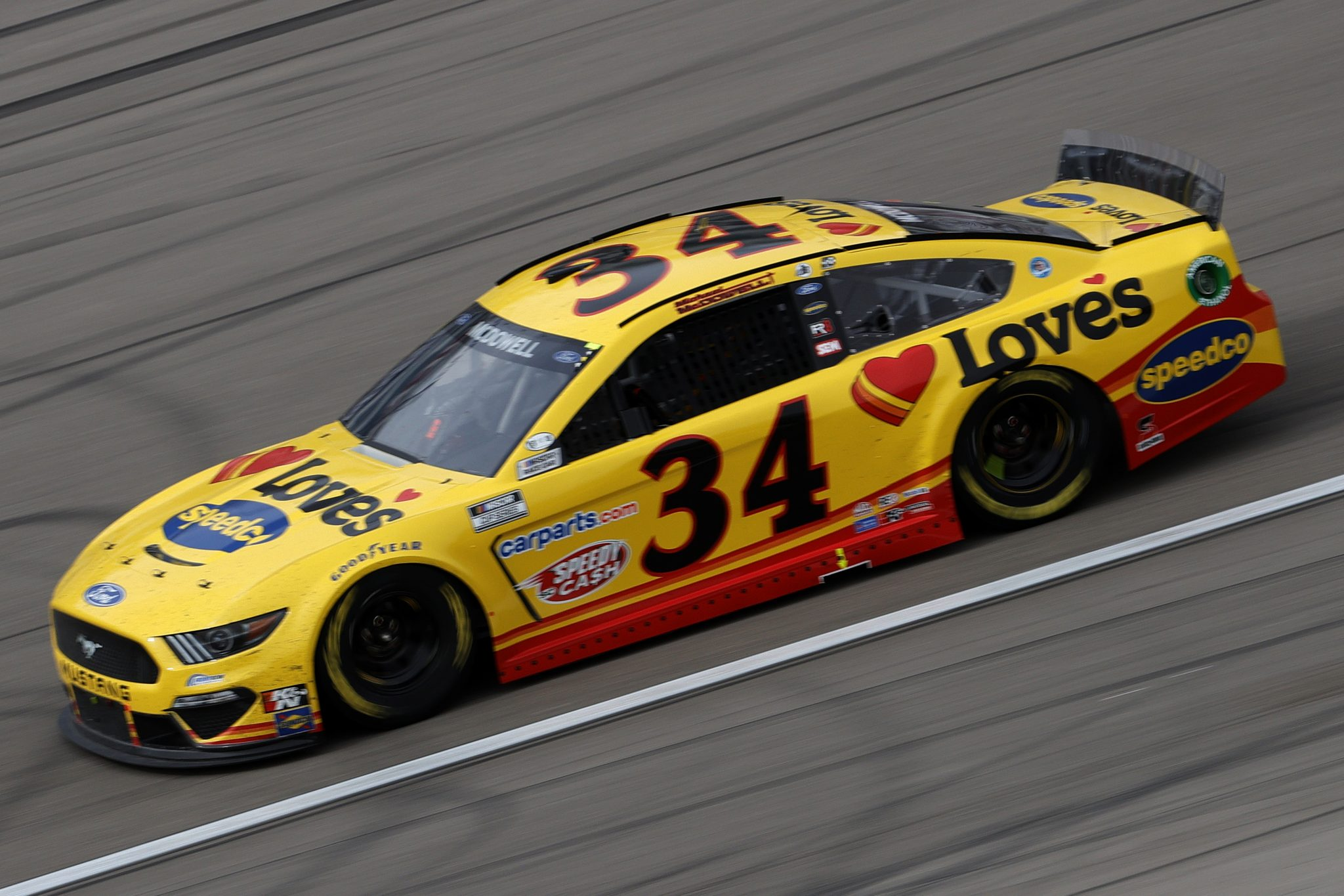 LAS VEGAS, NEVADA - MARCH 07: Michael McDowell, driver of the #34 Love's Travel Stops Ford, drives during the NASCAR Cup Series Pennzoil 400 presented by Jiffy Lube at the Las Vegas Motor Speedway on March 07, 2021 in Las Vegas, Nevada. (Photo by Chris Graythen/Getty Images) | Getty Images