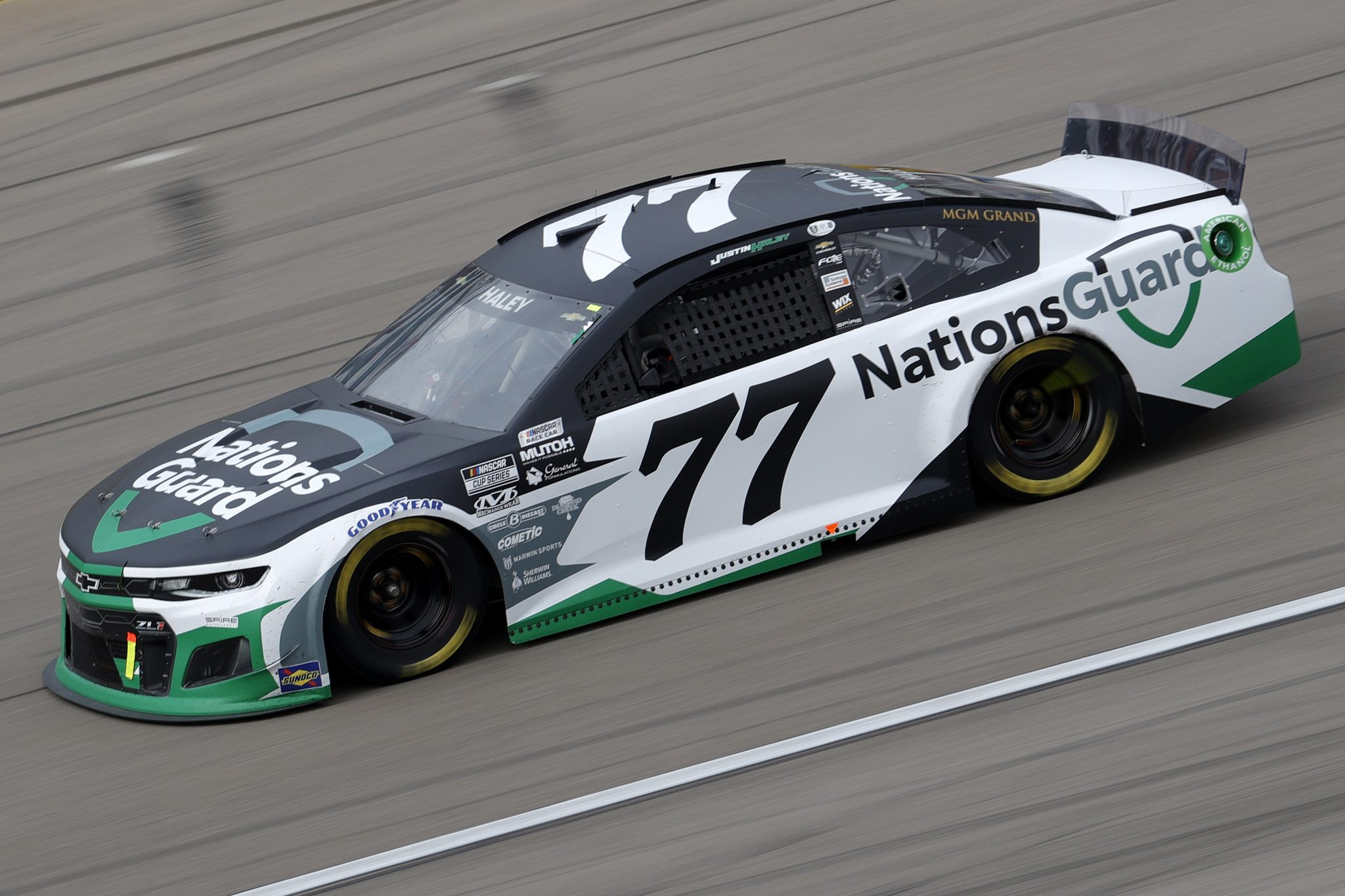 LAS VEGAS, NEVADA - MARCH 07: Justin Haley, driver of the #77 Nations Guard Chevrolet, drives during the NASCAR Cup Series Pennzoil 400 presented by Jiffy Lube at the Las Vegas Motor Speedway on March 07, 2021 in Las Vegas, Nevada. (Photo by Chris Graythen/Getty Images) | Getty Images
