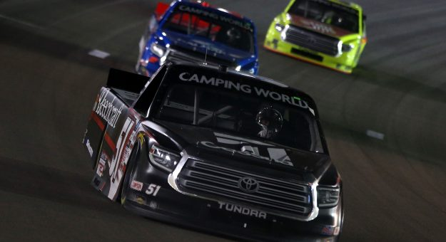 LAS VEGAS, NEVADA - MARCH 05: Kyle Busch, driver of the #51 Cessna Toyota, drives during the NASCAR Camping World Truck Series Bucked Up 200 at The Bullring at Las Vegas Motor Speedway on March 05, 2021 in Las Vegas, Nevada. (Photo by Brian Lawdermilk/Getty Images)   Getty Images