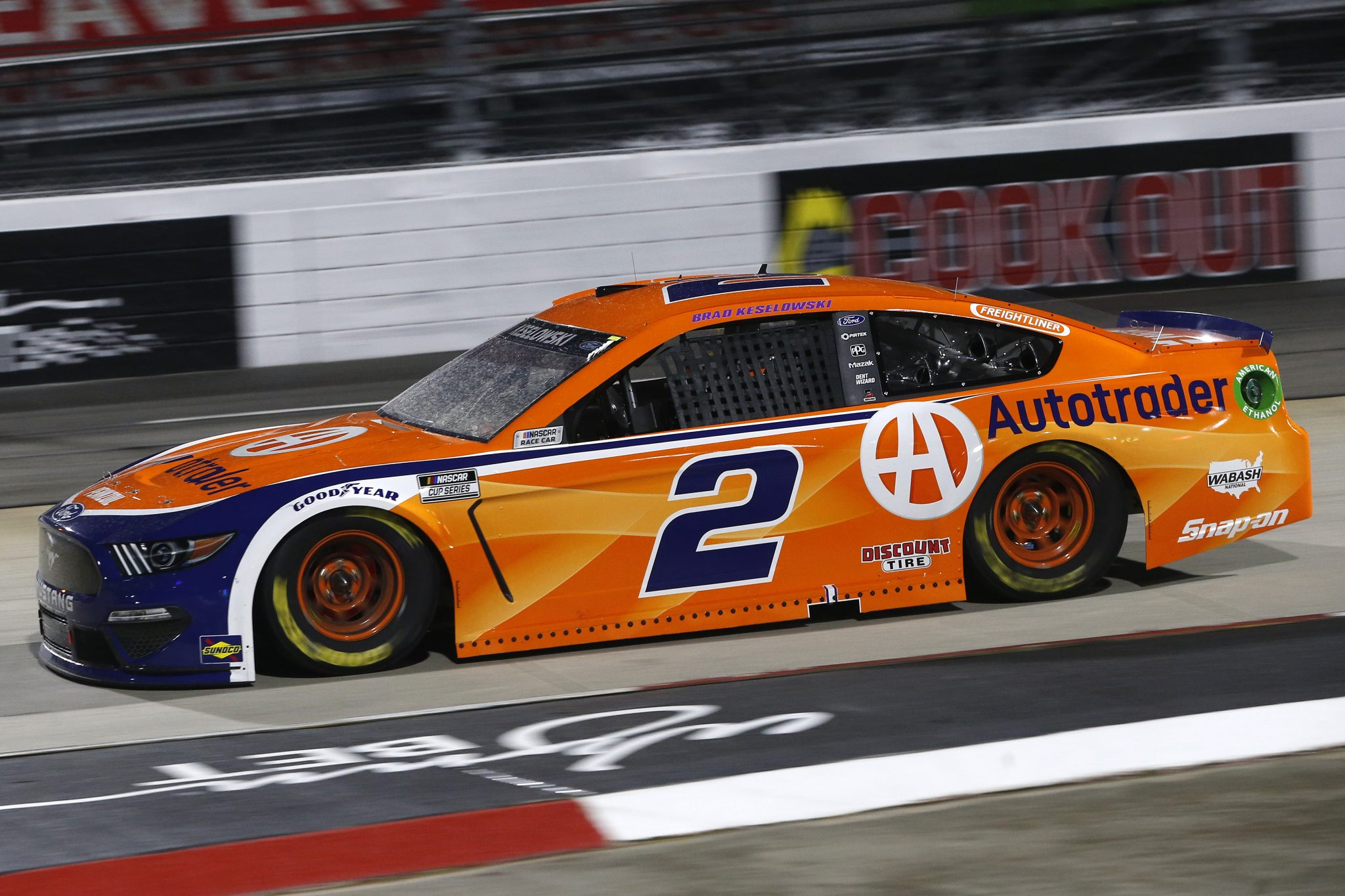 MARTINSVILLE, VIRGINIA - APRIL 10: Brad Keselowski, driver of the #2 Autotrader Ford, drives during the NASCAR Cup Series Blue-Emu Maximum Pain Relief 500 at Martinsville Speedway on April 10, 2021 in Martinsville, Virginia. (Photo by Brian Lawdermilk/Getty Images) | Getty Images