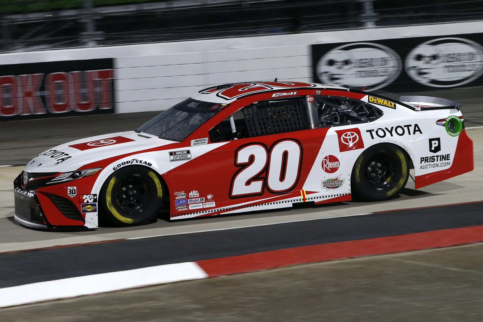 MARTINSVILLE, VIRGINIA - APRIL 10: Christopher Bell, driver of the #20 Toyota Toyota, drives during the NASCAR Cup Series Blue-Emu Maximum Pain Relief 500 at Martinsville Speedway on April 10, 2021 in Martinsville, Virginia. (Photo by Brian Lawdermilk/Getty Images) | Getty Images